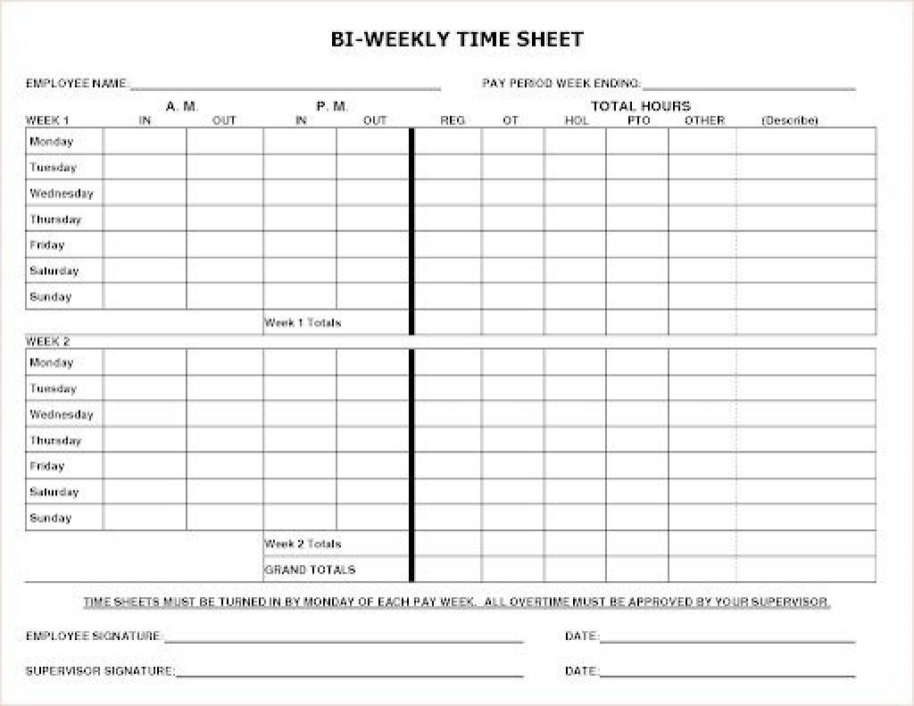 Free Bi Weekly Timesheet Template ~ Addictionary