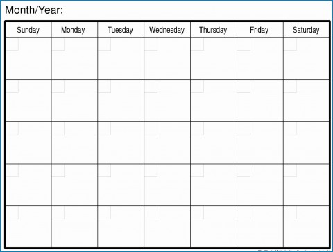 007 Magnificent Free Printable Blank Monthly Calendar Template Picture 480