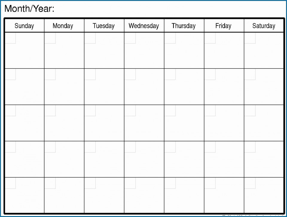 007 Magnificent Free Printable Blank Monthly Calendar Template Picture 960