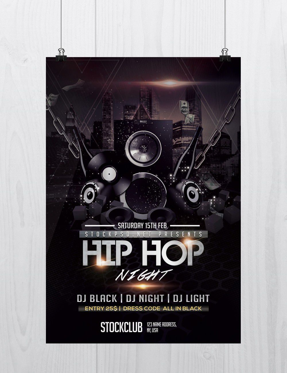007 Magnificent Hip Hop Flyer Template Design  Templates Hip-hop Party Free DownloadFull