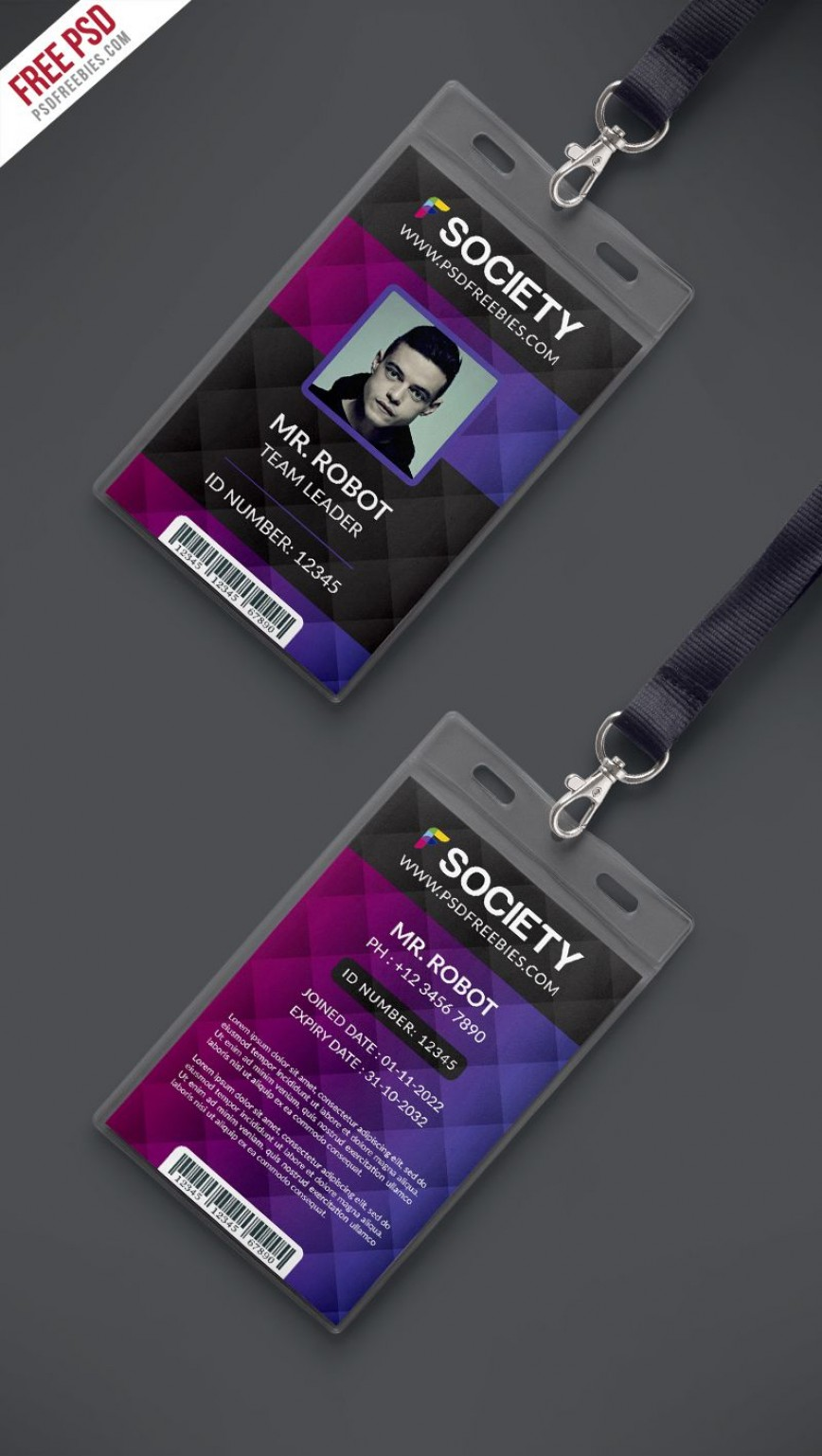 007 Magnificent Id Badge Template Photoshop High Definition  Employee868