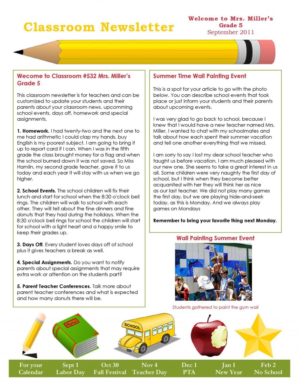 007 Magnificent Newsletter Template For Teacher To Parent Image  ParentsLarge