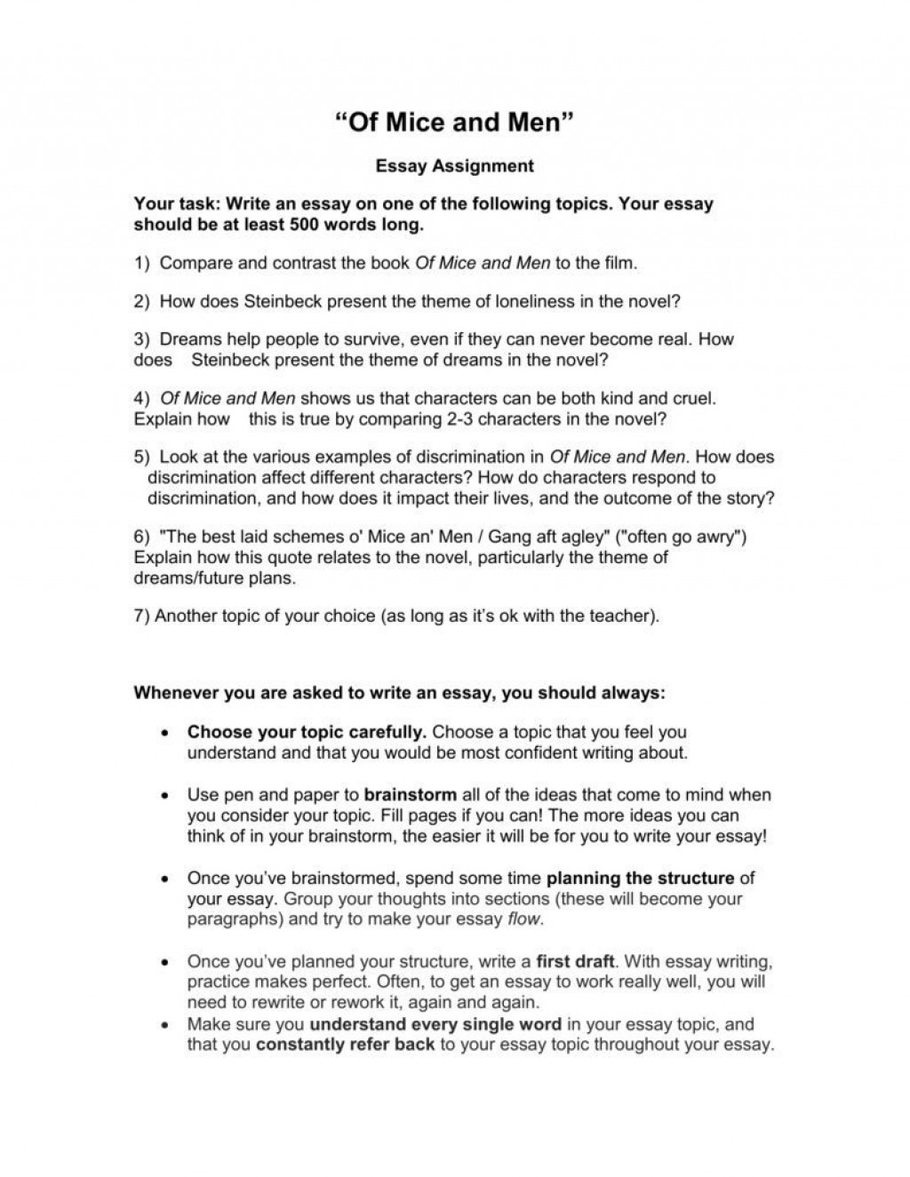 007 Magnificent Of Mice And Men Essay Photo  Prompt TopicLarge