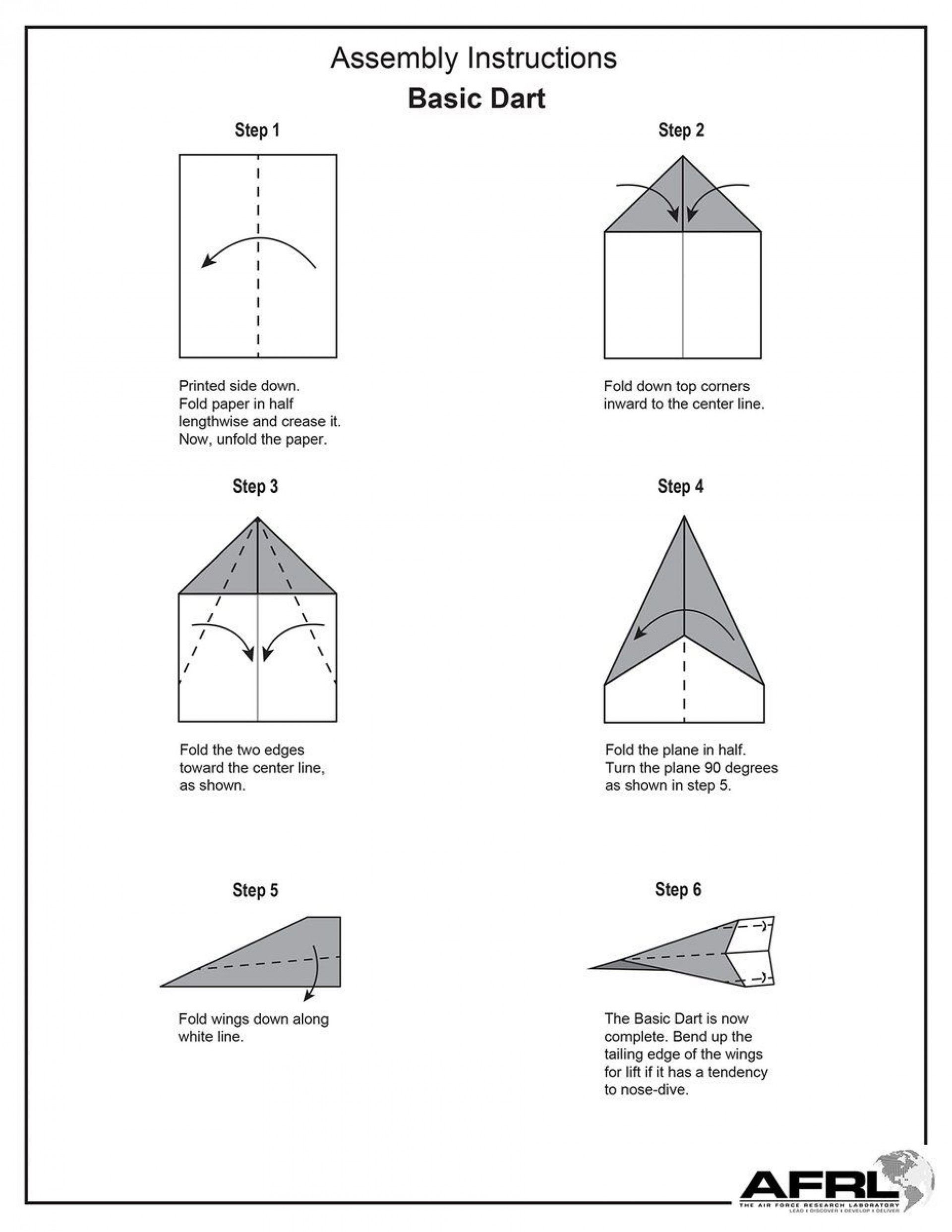 007 Magnificent Printable Paper Airplane Folding Instruction High Def 1920