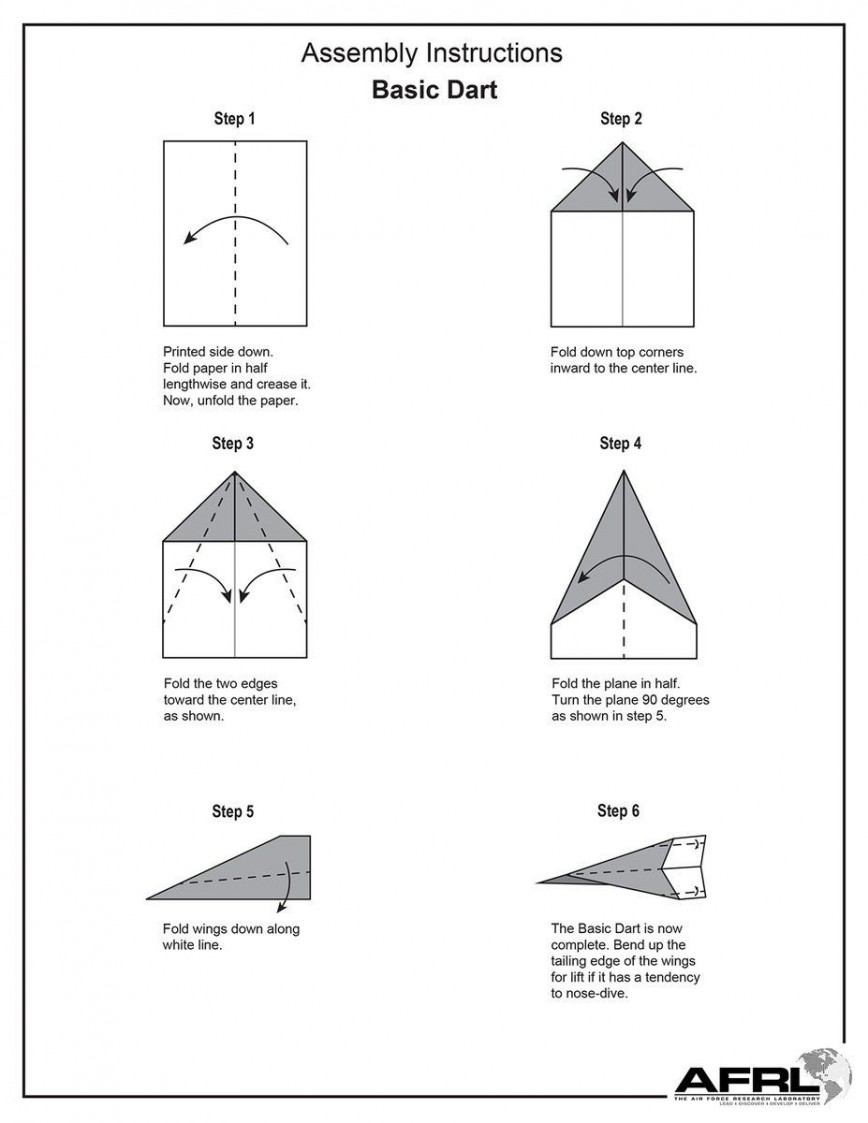 007 Magnificent Printable Paper Airplane Folding Instruction High Def 868