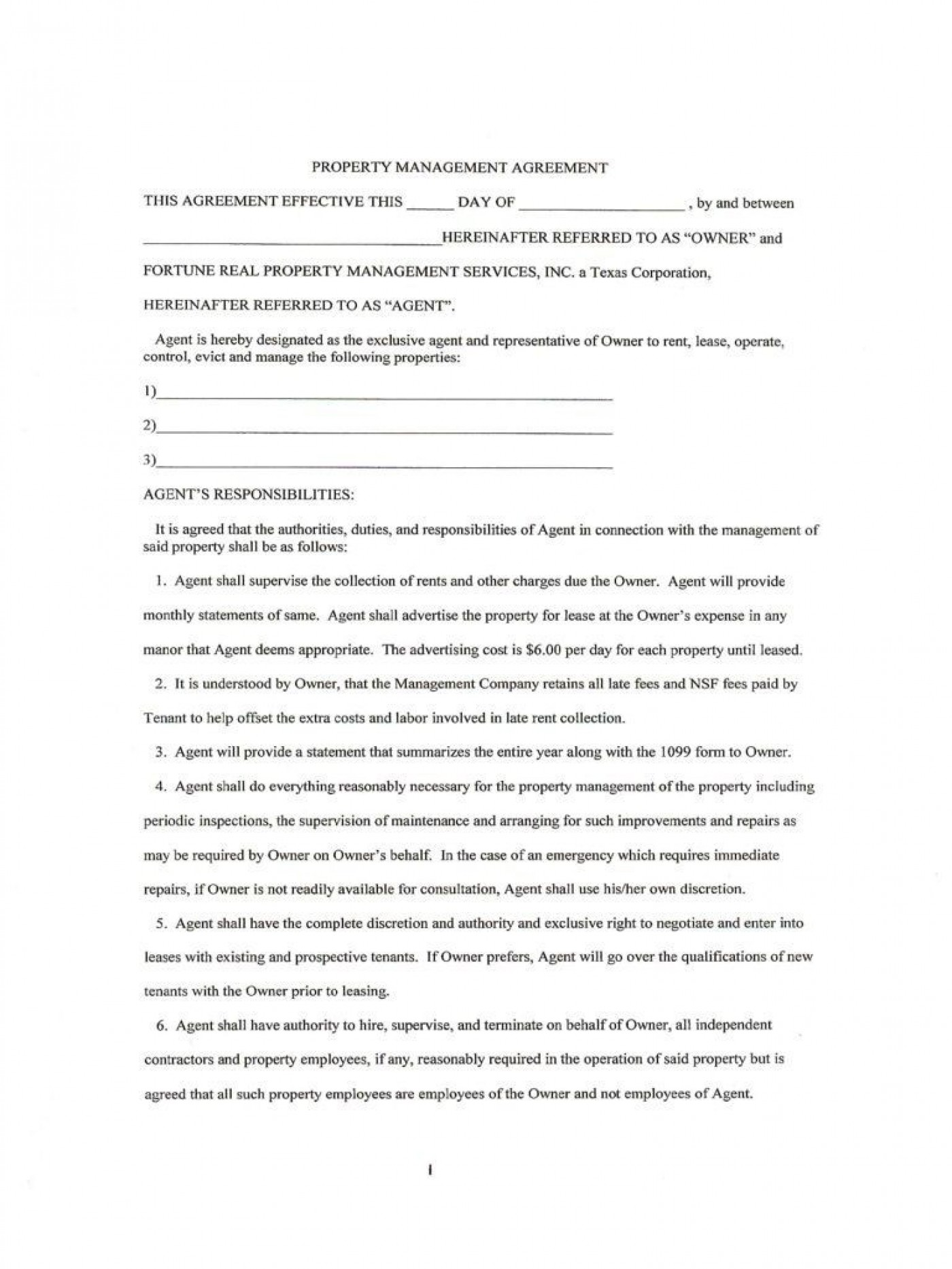 007 Magnificent Property Management Contract Template Free Concept  Uk1400