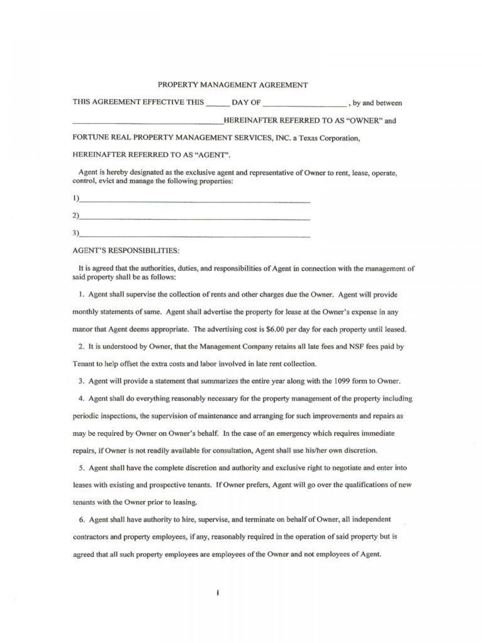 007 Magnificent Property Management Contract Template Free Concept  Uk1920