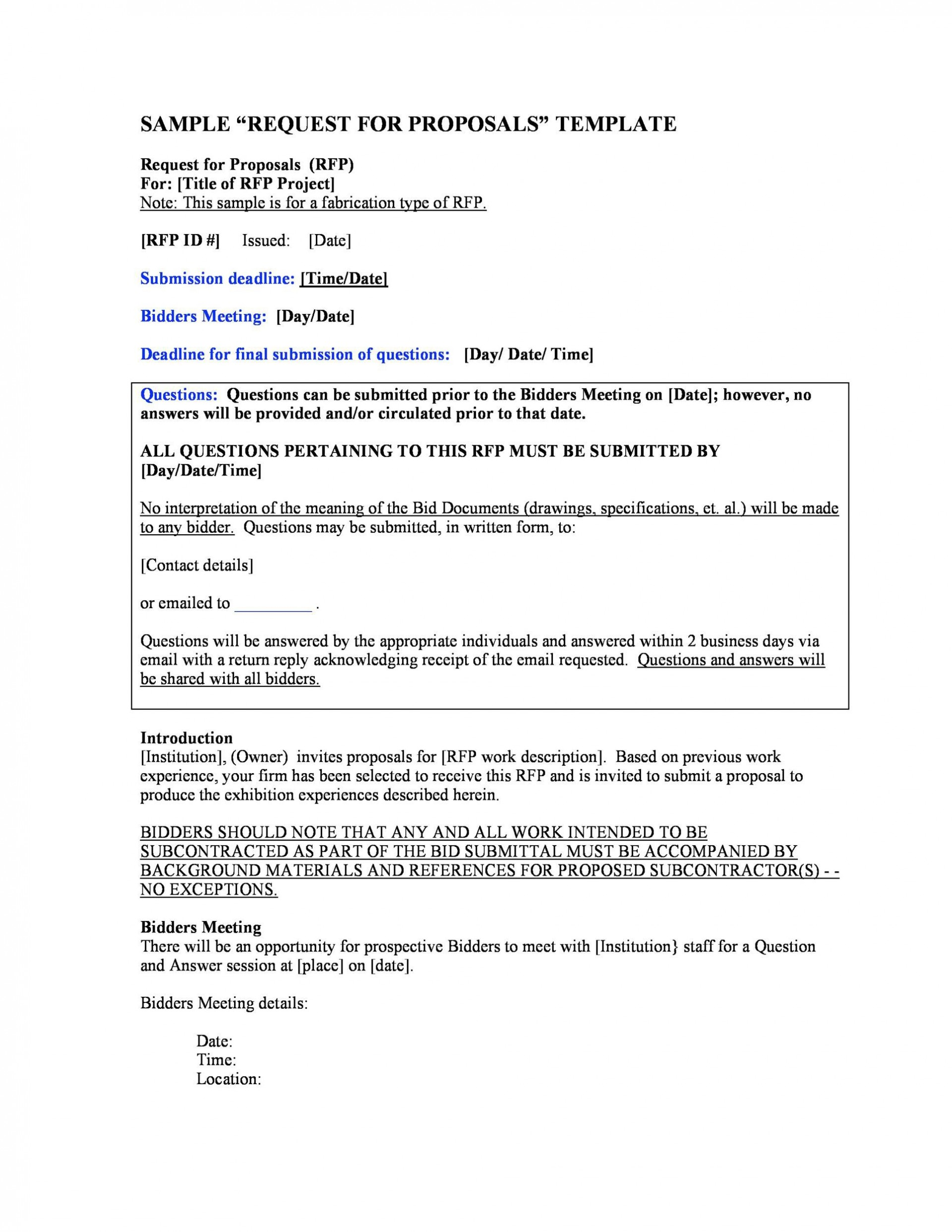 007 Magnificent Request For Proposal Response Template Free Sample 1920