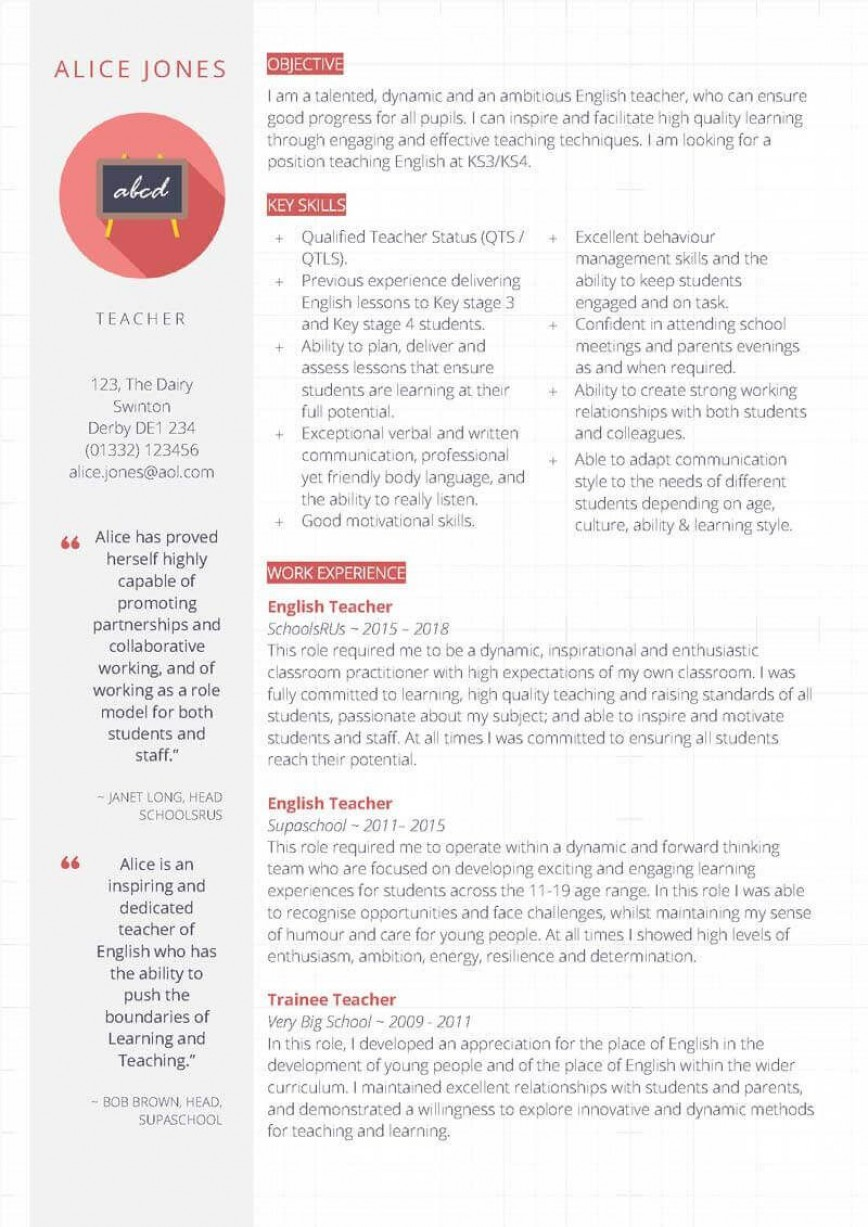 007 Magnificent Resume Template For Teaching Highest Quality  Example Assistant Cv Uk Job868