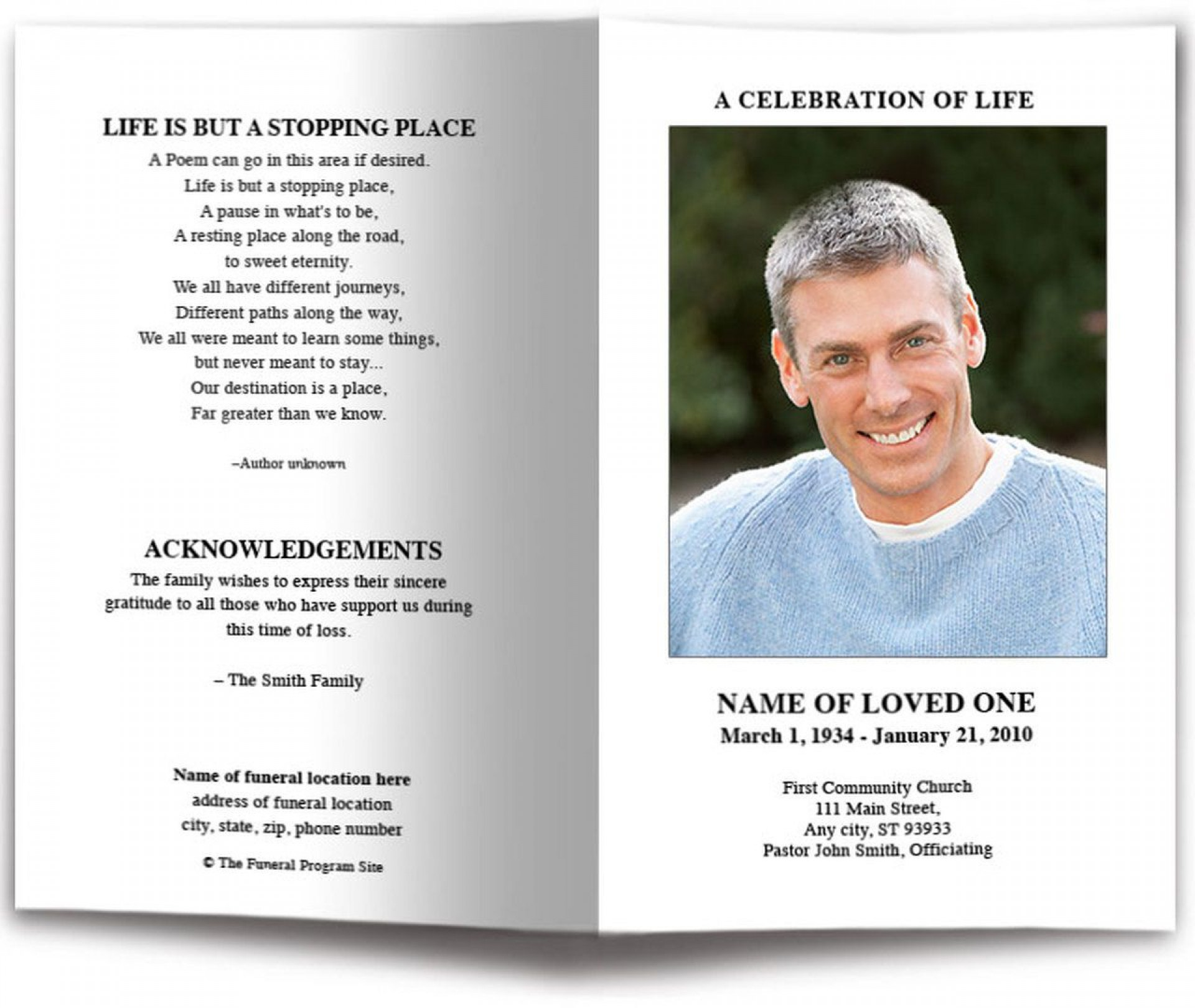 007 Magnificent Simple Funeral Program Template Free Photo  Download1920