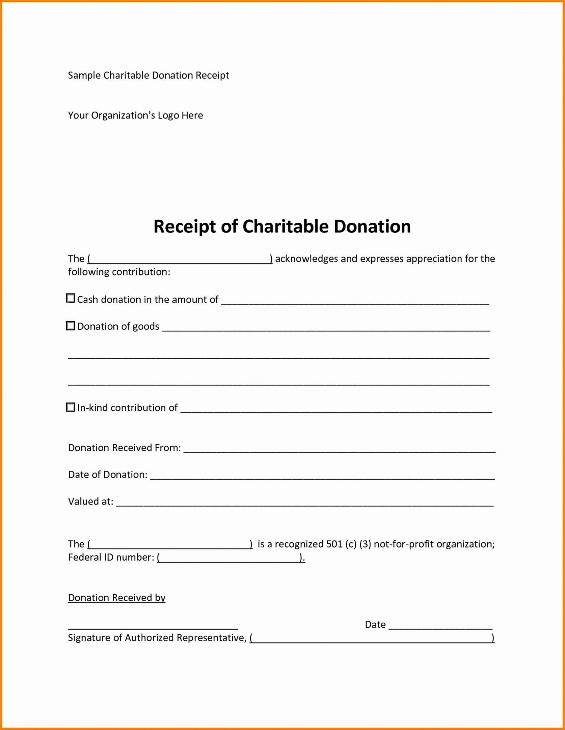 007 Magnificent Tax Donation Receipt Template Idea  Canadian Charitable Letter Church Deduction1920