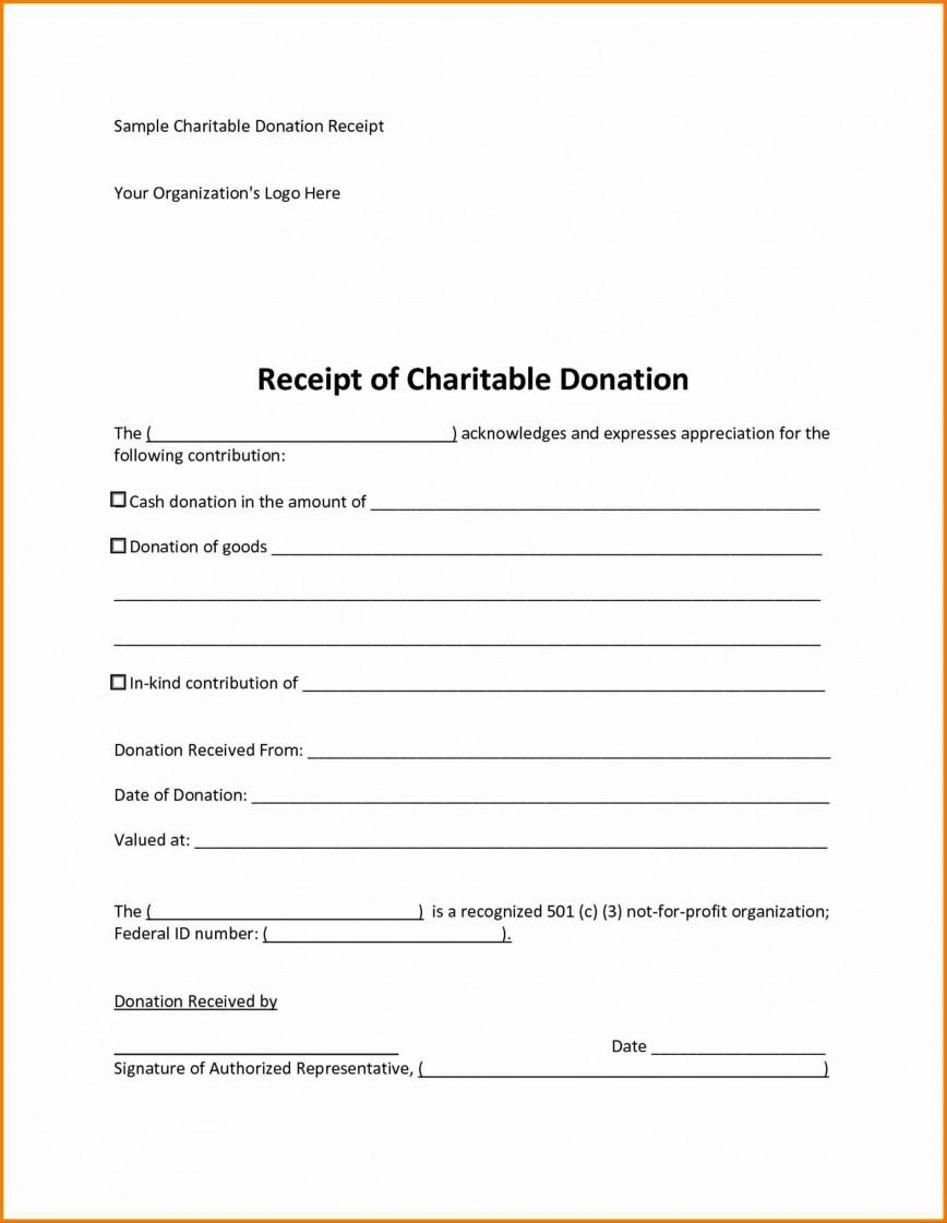 007 Magnificent Tax Donation Receipt Template Idea  Deductible Form For Purpose