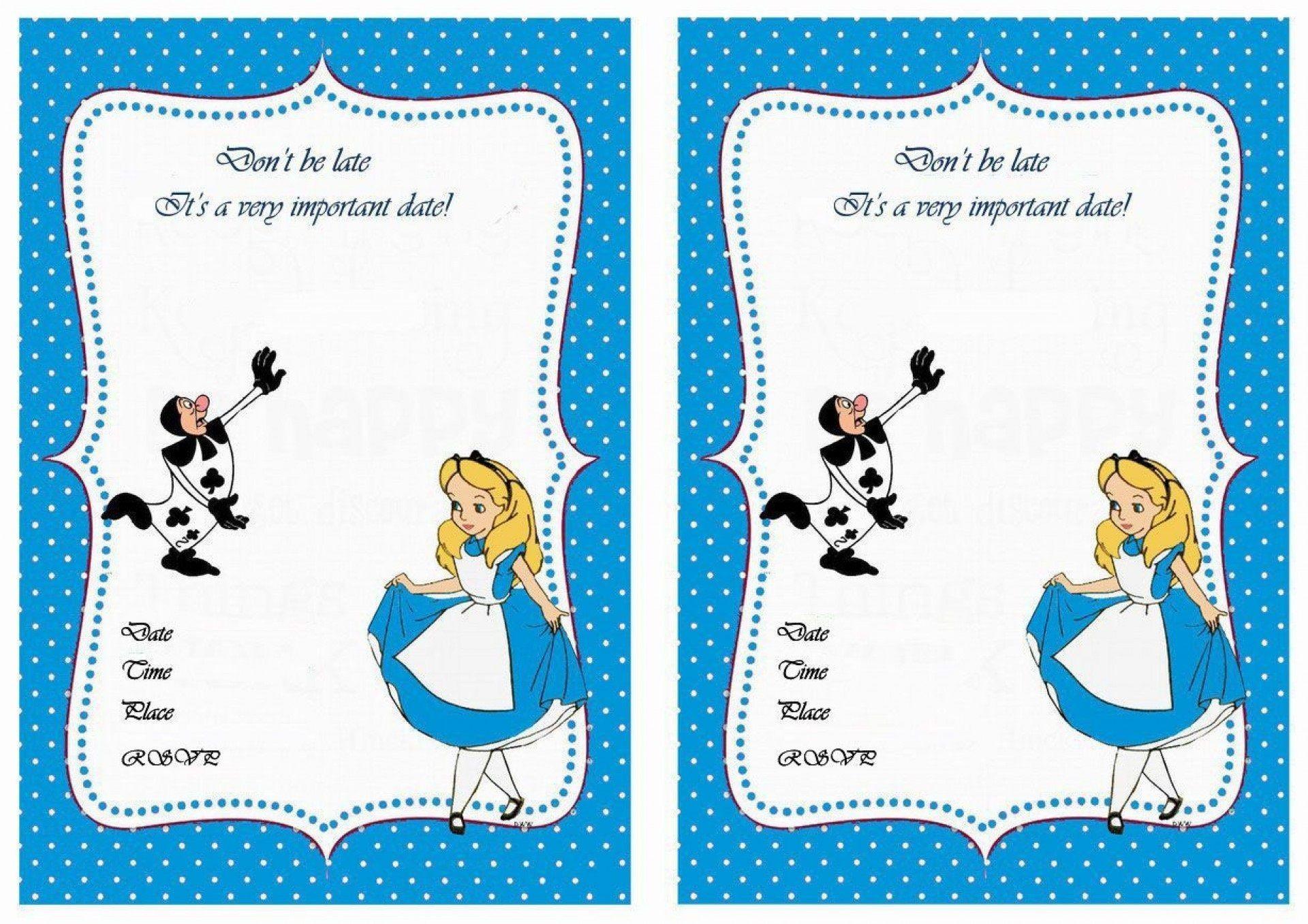 007 Marvelou Alice In Wonderland Invitation Template Download Photo  Free1920