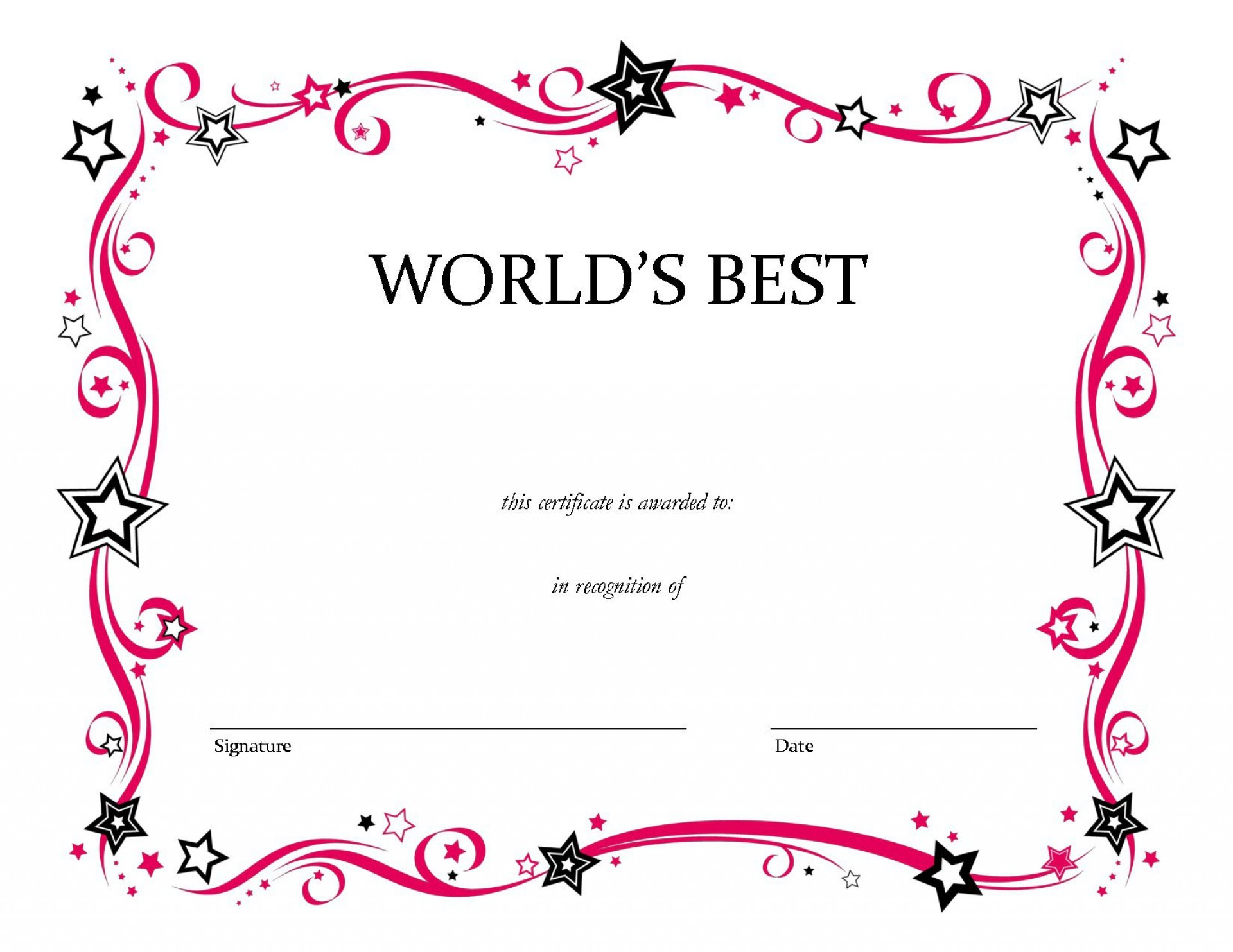 007 Marvelou Blank Award Certificate Template Picture  Printable Math Editable Free1920