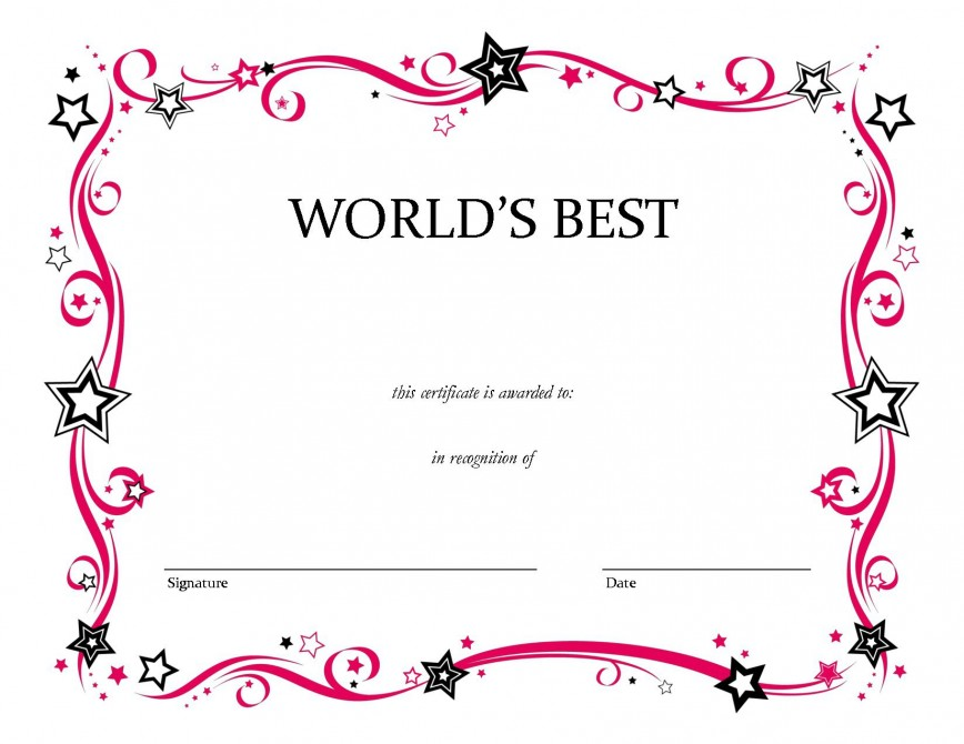 007 Marvelou Blank Award Certificate Template Picture  Printable Free Editable