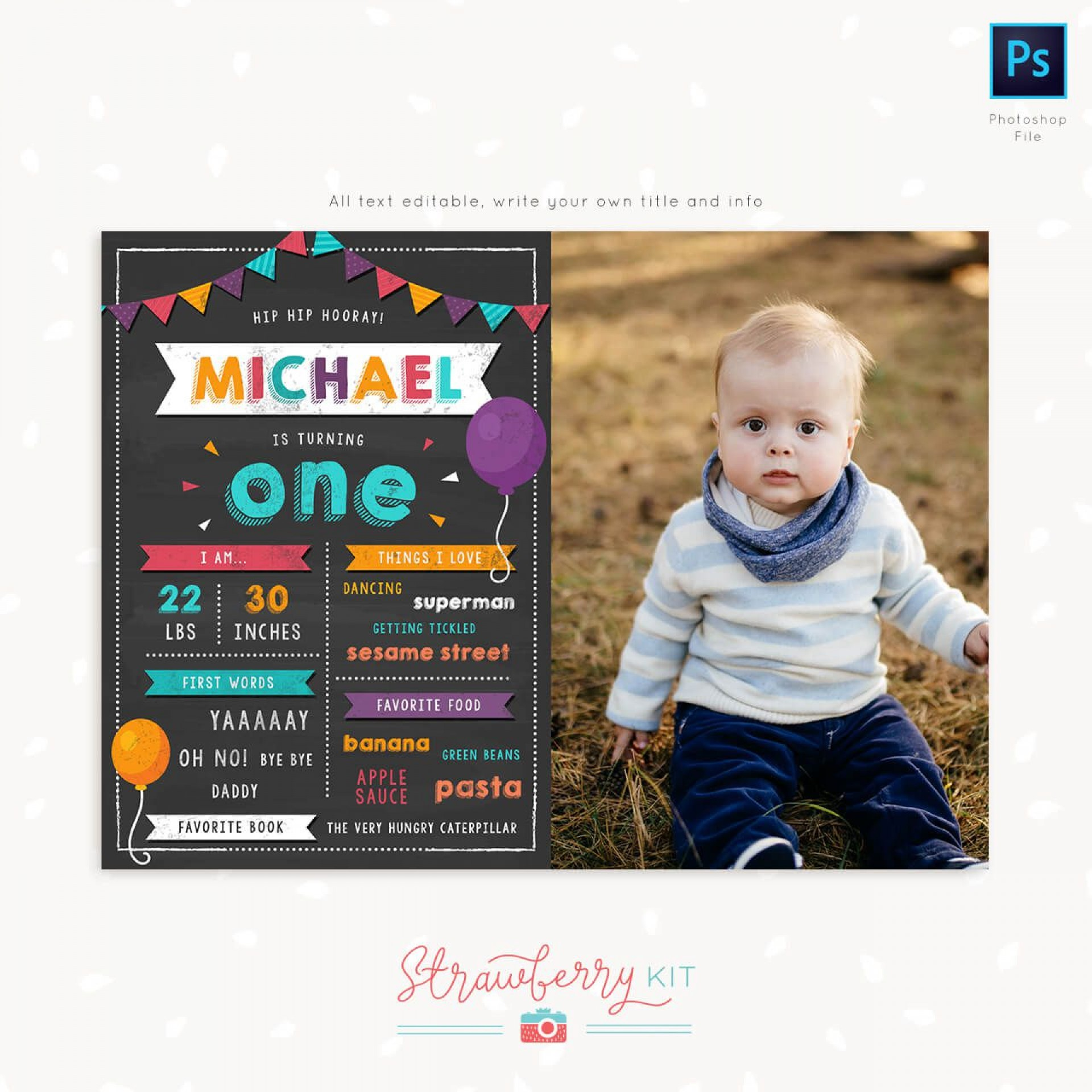 007 Marvelou First Birthday Chalkboard Template Example  Diy Printable Free1920