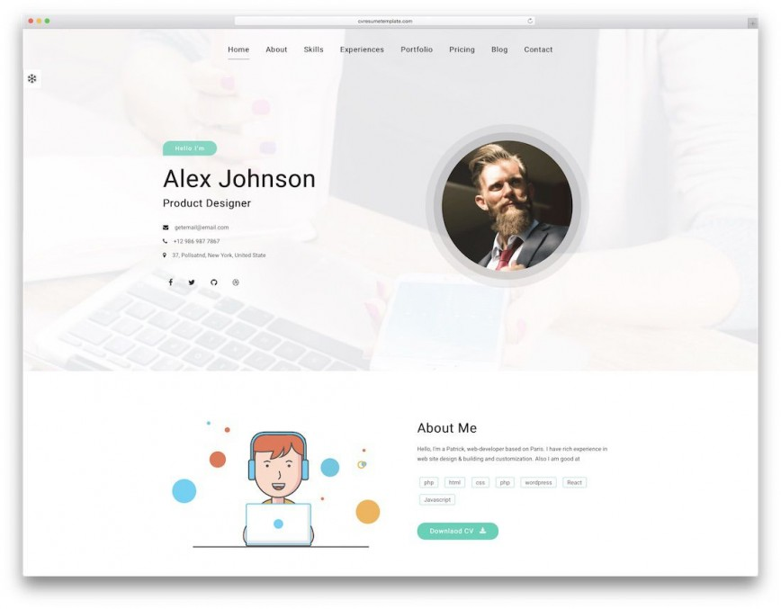 007 Marvelou Free Html Resume Template Idea  Clean Cv / Download Cs Website