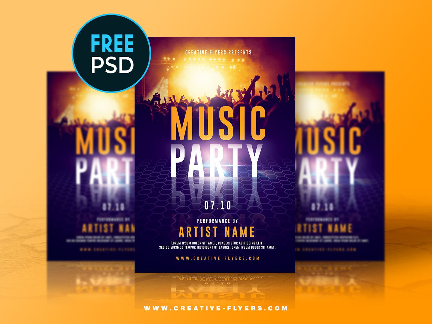 007 Marvelou Free Party Flyer Psd Template Download Highest Quality  - Neon GlowFull
