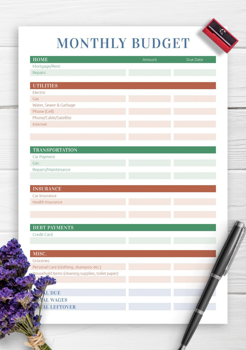 007 Marvelou Free Printable Monthly Household Budget Template Idea  ExpenseLarge
