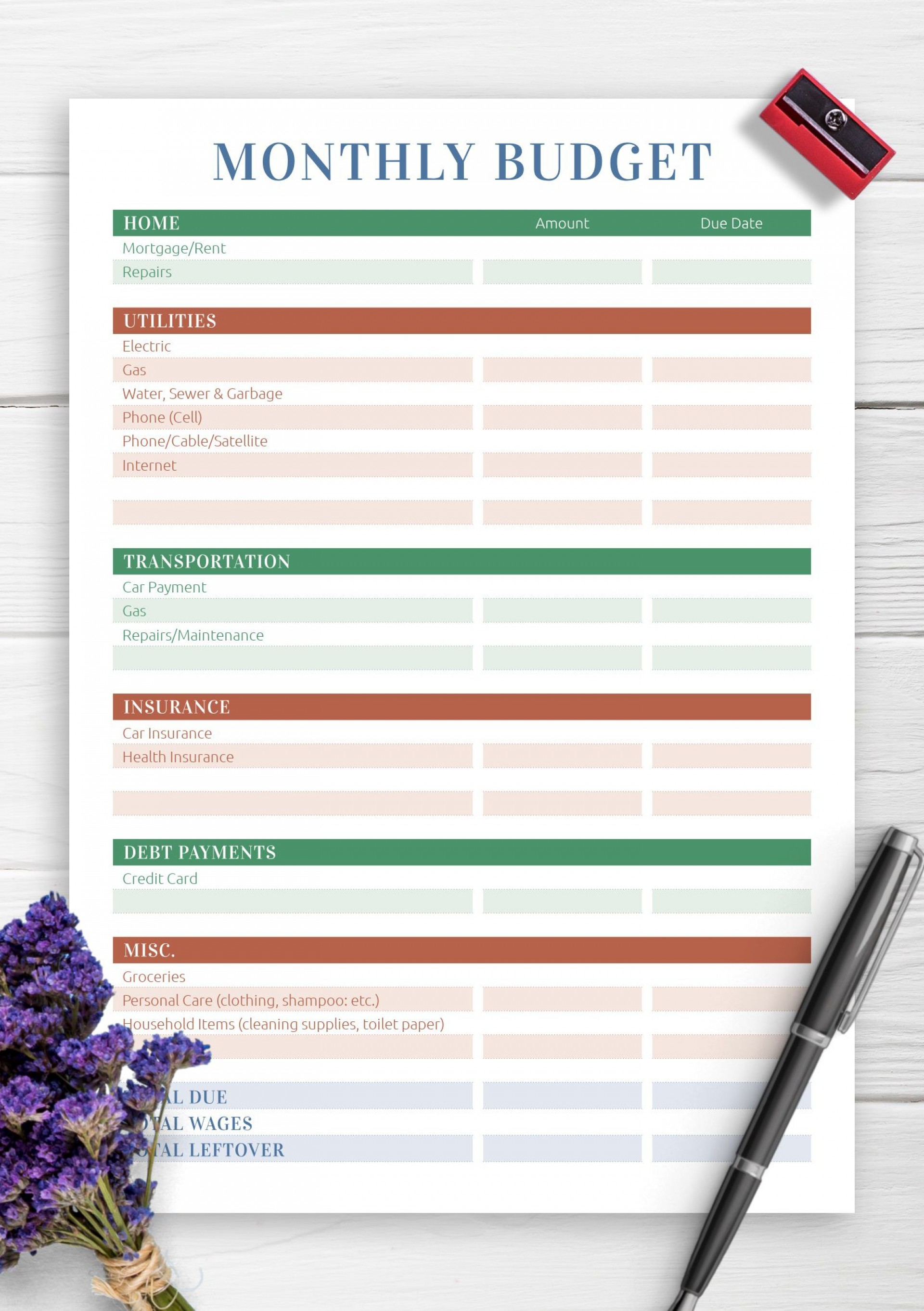 007 Marvelou Free Printable Monthly Household Budget Template Idea  Expense1920