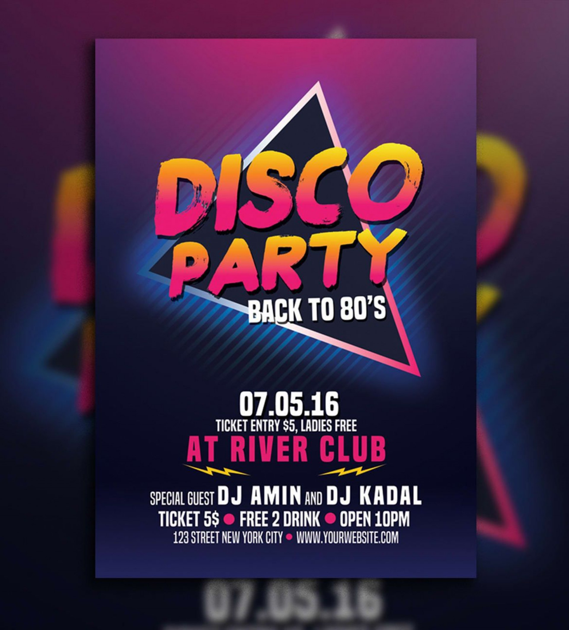 007 Marvelou Free School Disco Flyer Template Sample  Templates Poster1920