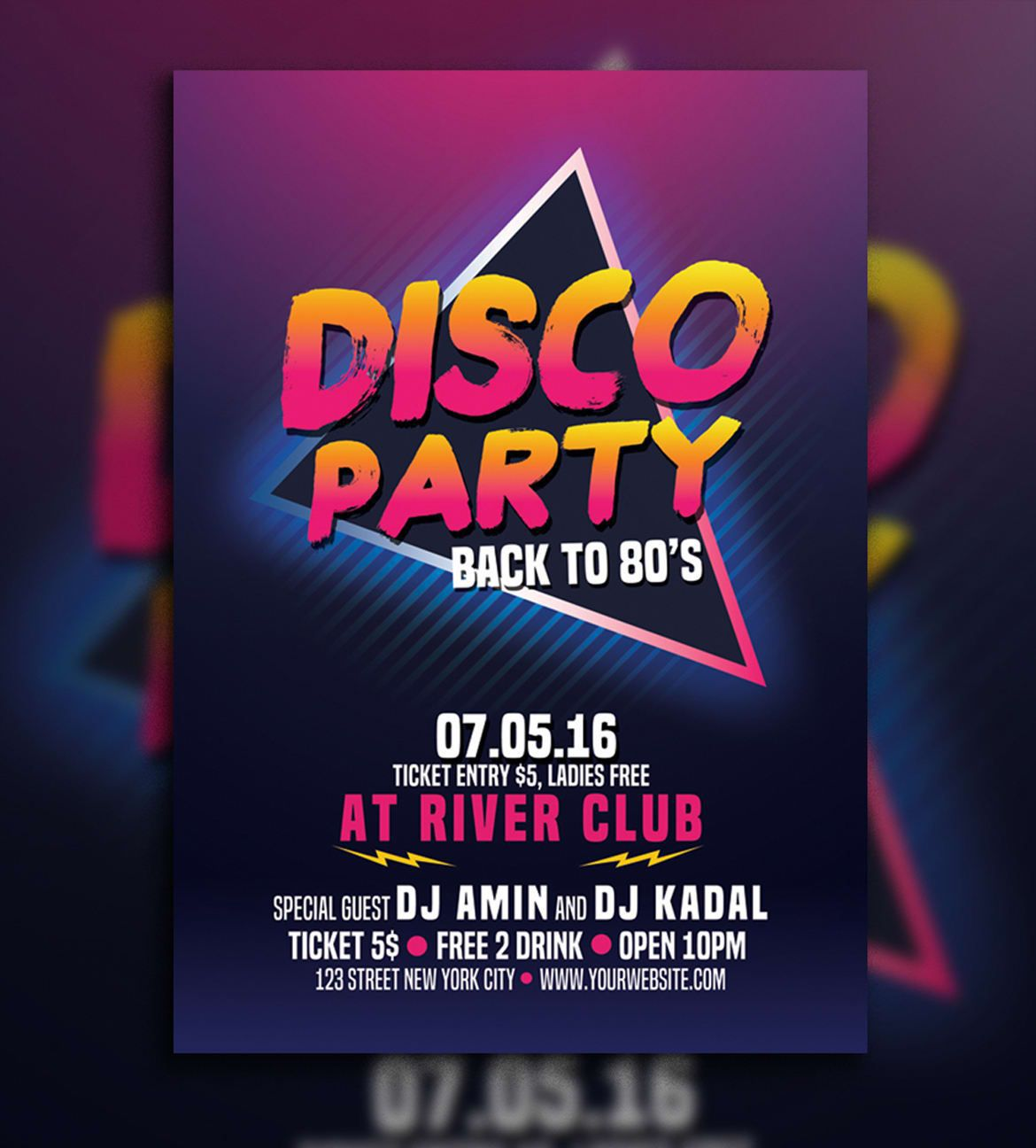 007 Marvelou Free School Disco Flyer Template Sample  Templates PosterFull
