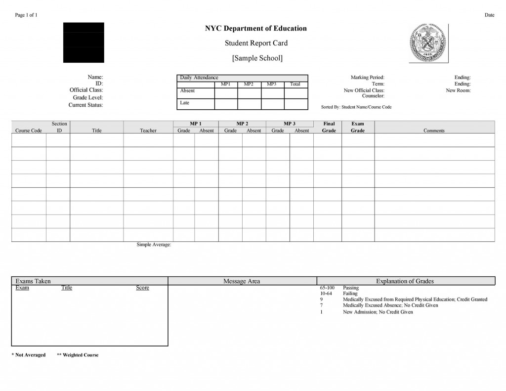 007 Marvelou Junior High School Report Card Template Picture Large