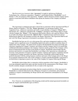 007 Marvelou Non Compete Agreement Template California Highest Quality 320
