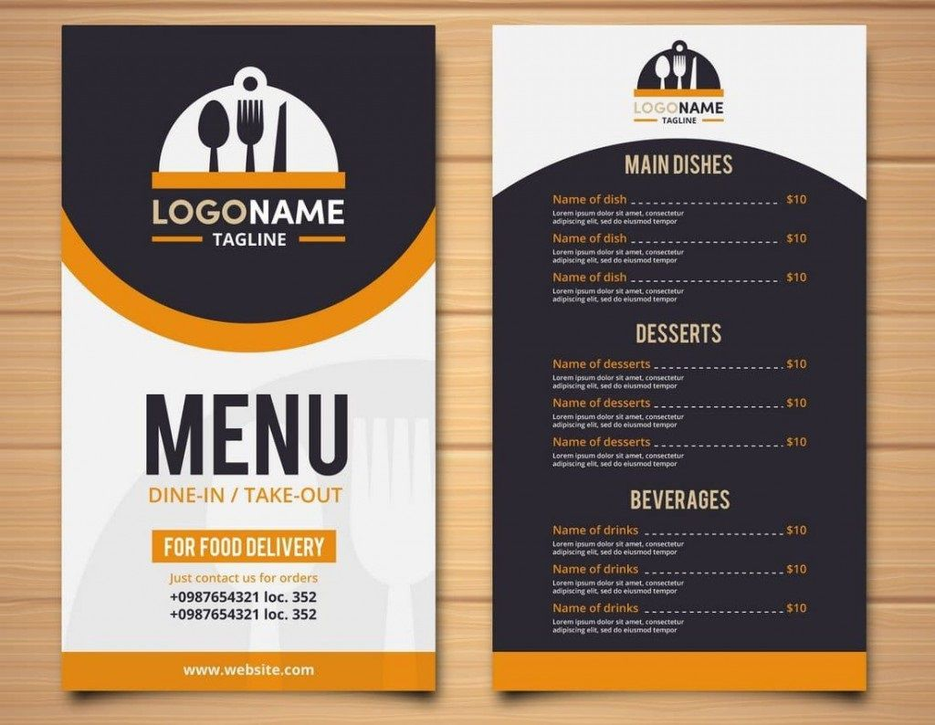 007 Marvelou Tri Fold Take Out Menu Template Free Word High Def Full