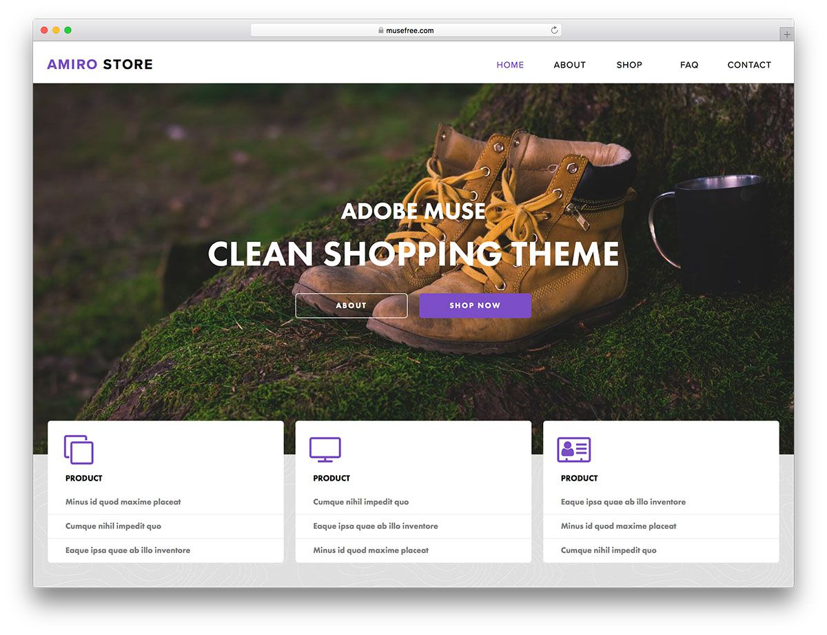 007 Outstanding Adobe Muse Template Free Concept  2019 Ecommerce Download ParallaxFull