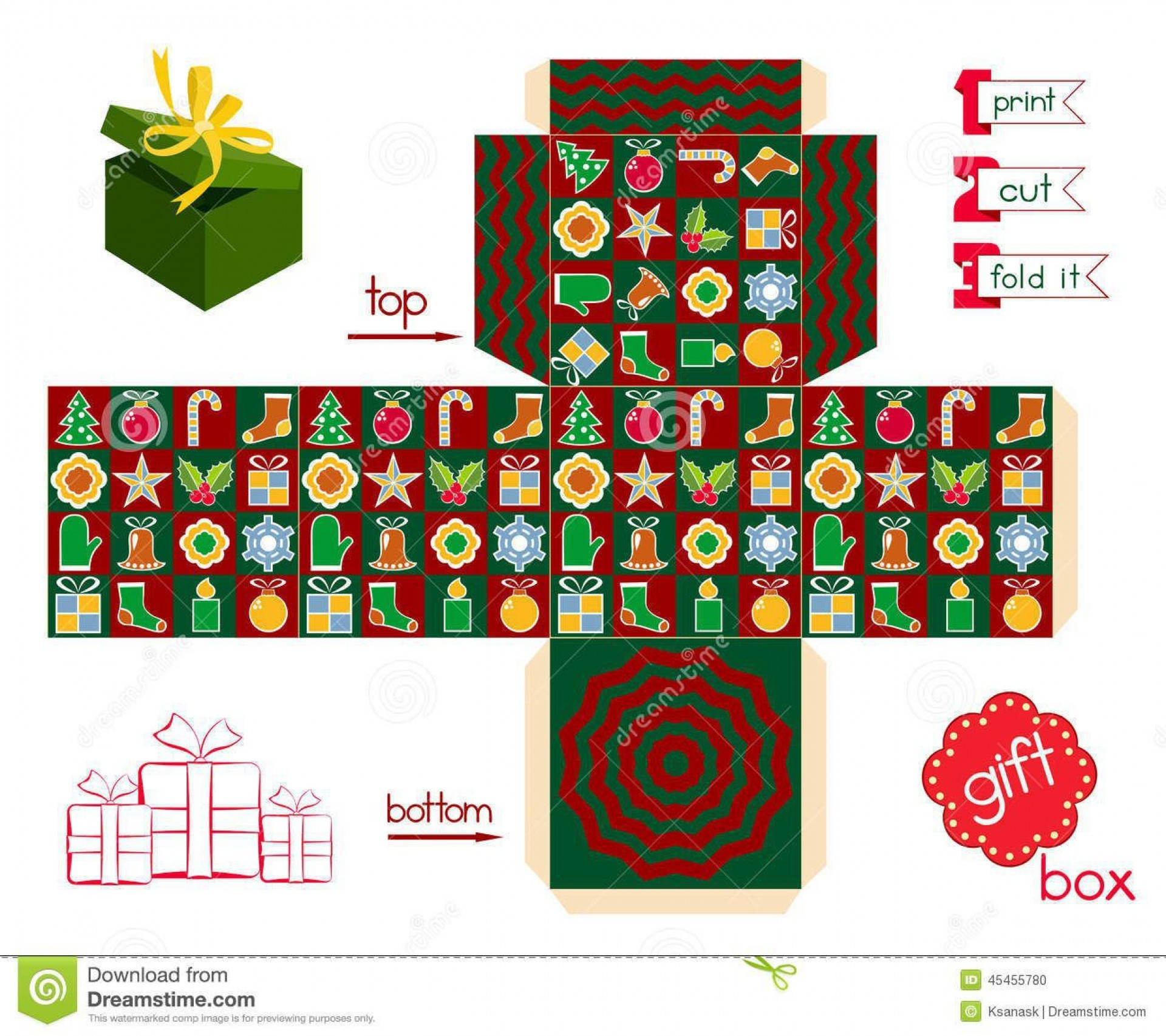 007 Outstanding Christma Gift Box Template Free Printable Example  Tree1920