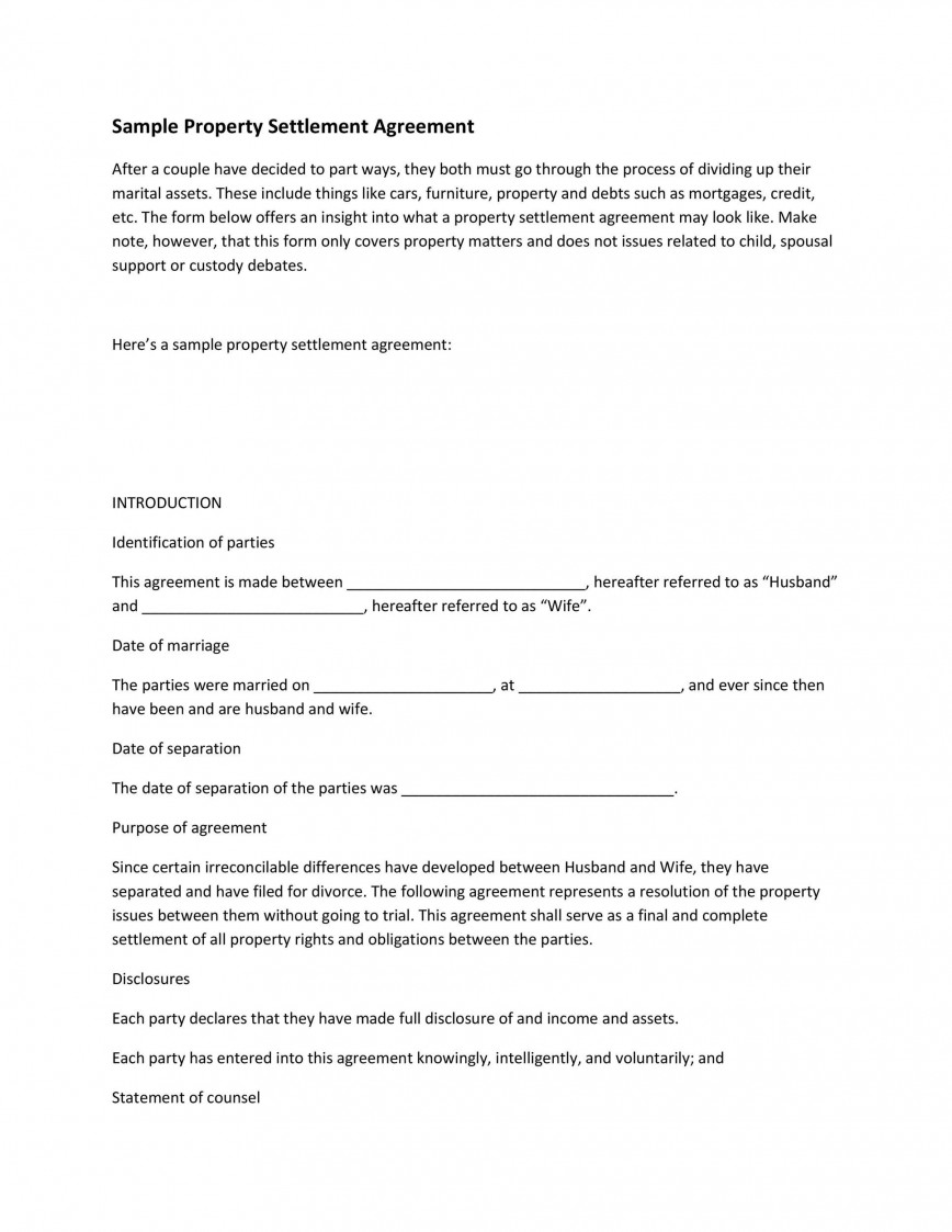Settlement Agreement Sample from www.addictionary.org