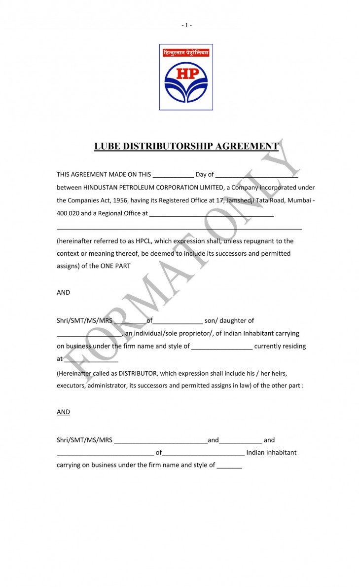 007 Outstanding Exclusive Distribution Agreement Template Free Example  Non728