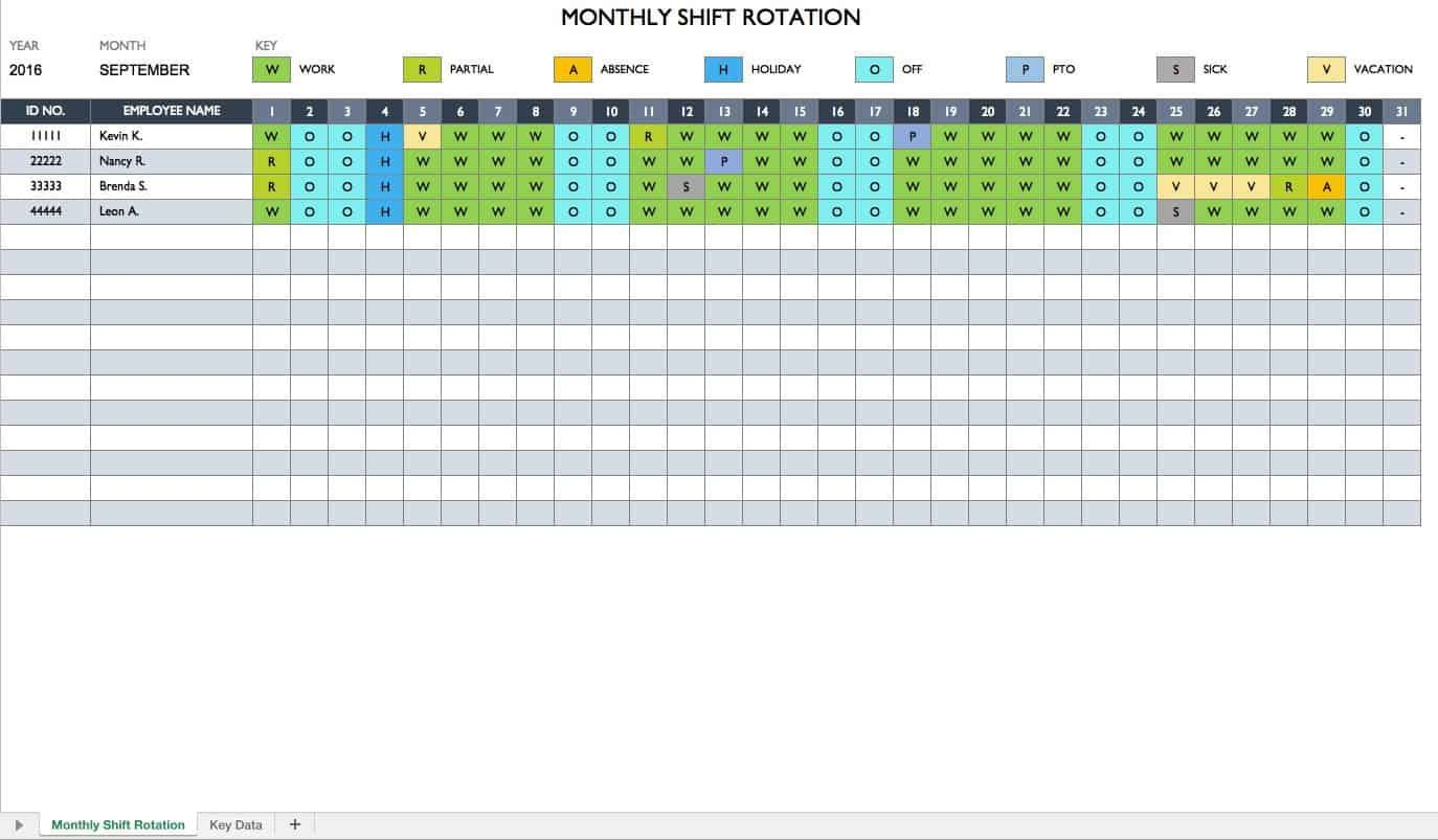 007 Outstanding Free Excel Monthly Employee Schedule Template Sample  DownloadFull