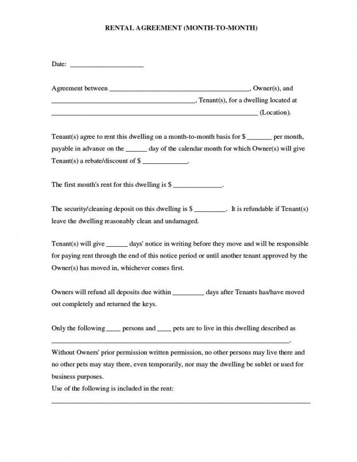 007 Outstanding Housing Rental Agreement Template Free High Resolution 728