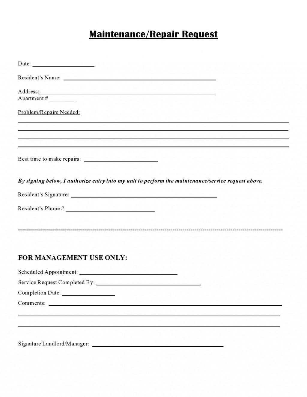 007 Outstanding Maintenance Work Order Template Sample  Form FreeLarge