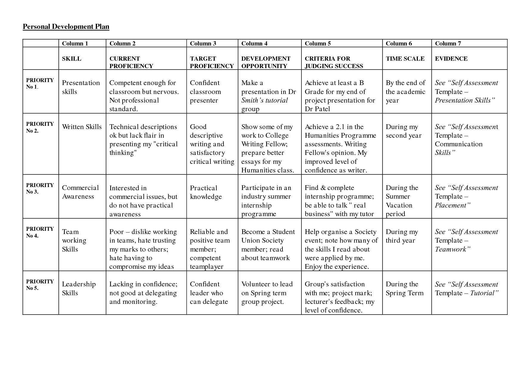 007 Outstanding Professional Development Plan Template Word Sample Full