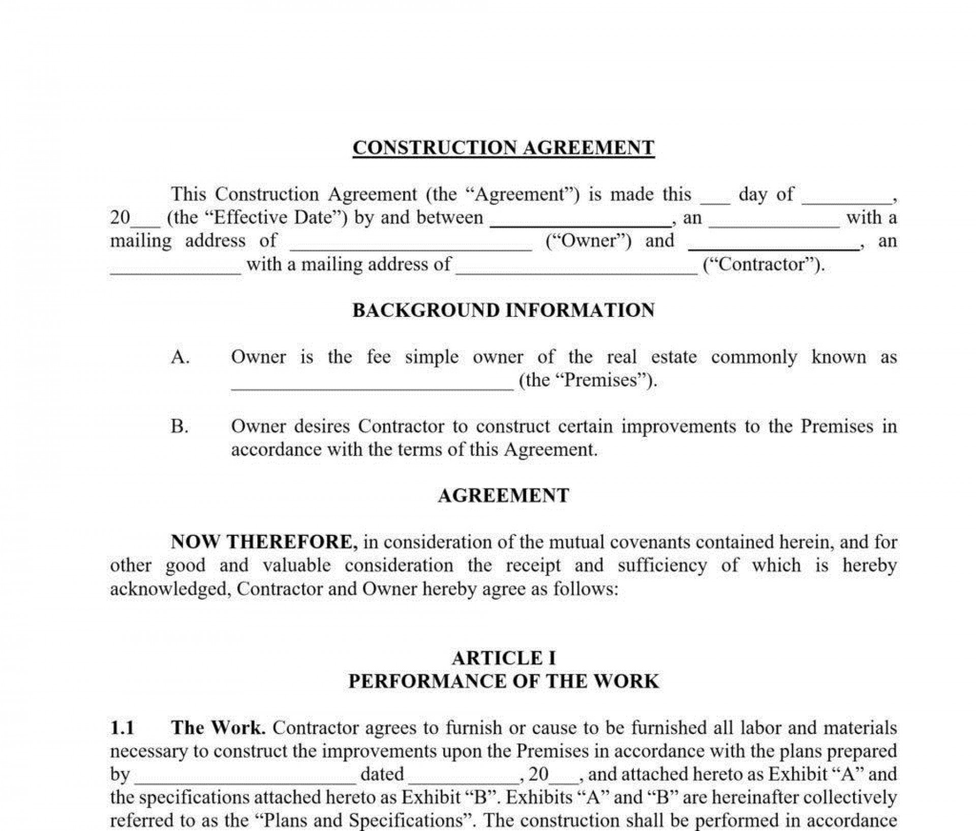 007 Outstanding Residential Construction Contract Template Idea  House Agreement Pdf1920