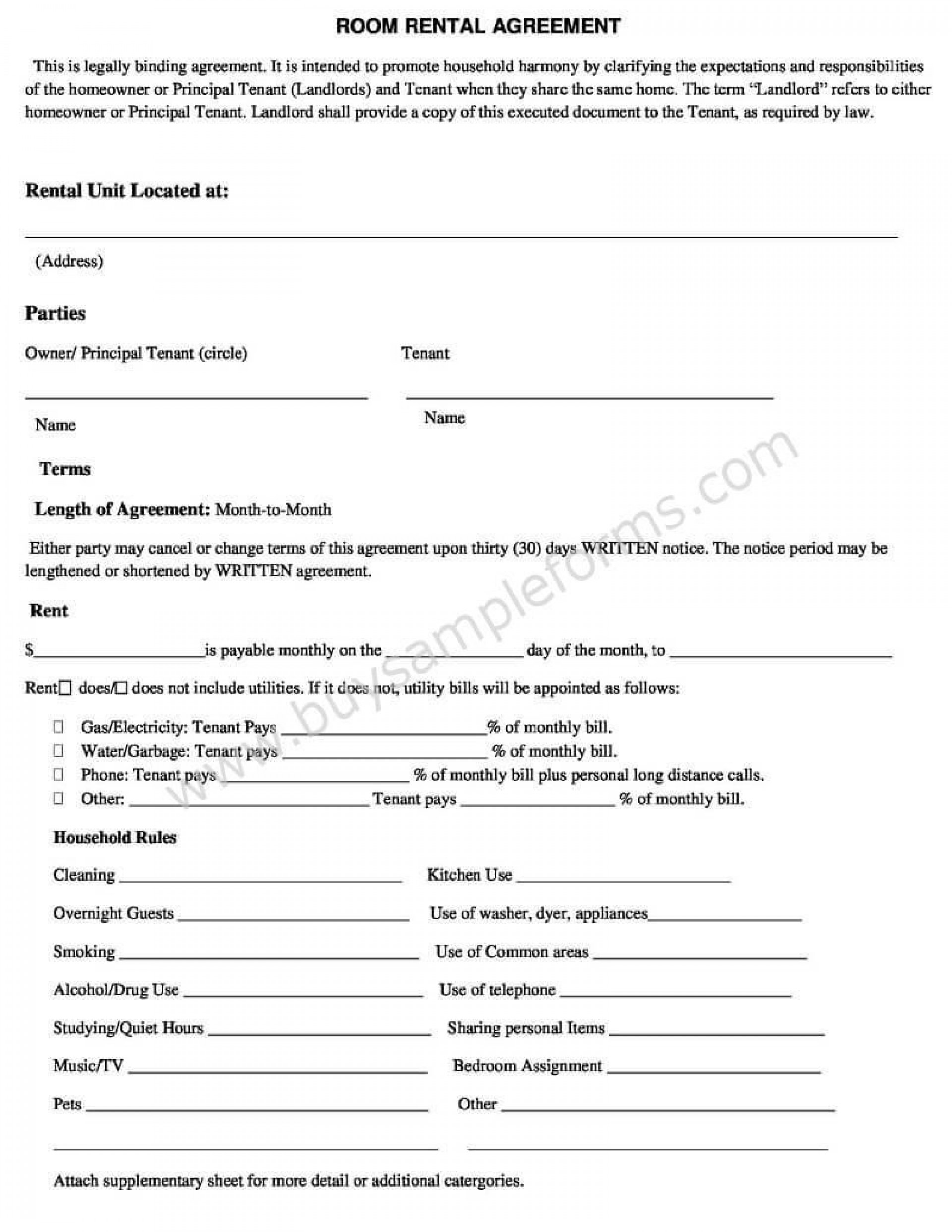007 Outstanding Room Rental Agreement Simple Form Picture  Template Word Doc Rent Format In Free Uk1920