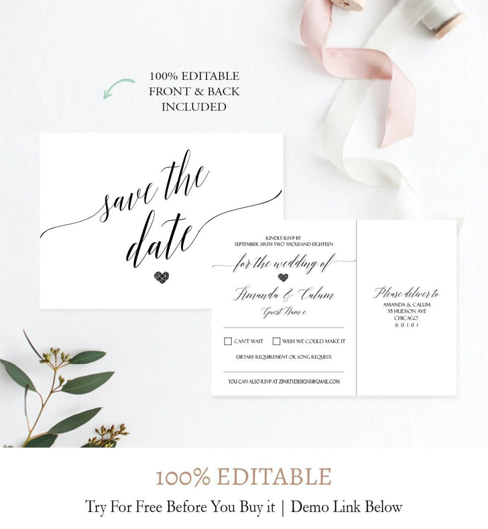 007 Outstanding Save The Date Postcard Template Image  Diy Free Birthday960
