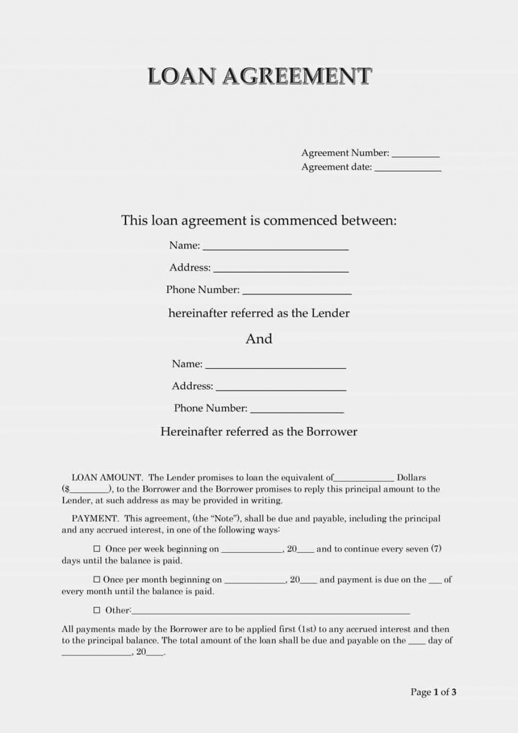 007 Outstanding Simple Loan Agreement Template Word High Def  Format Personal MicrosoftLarge