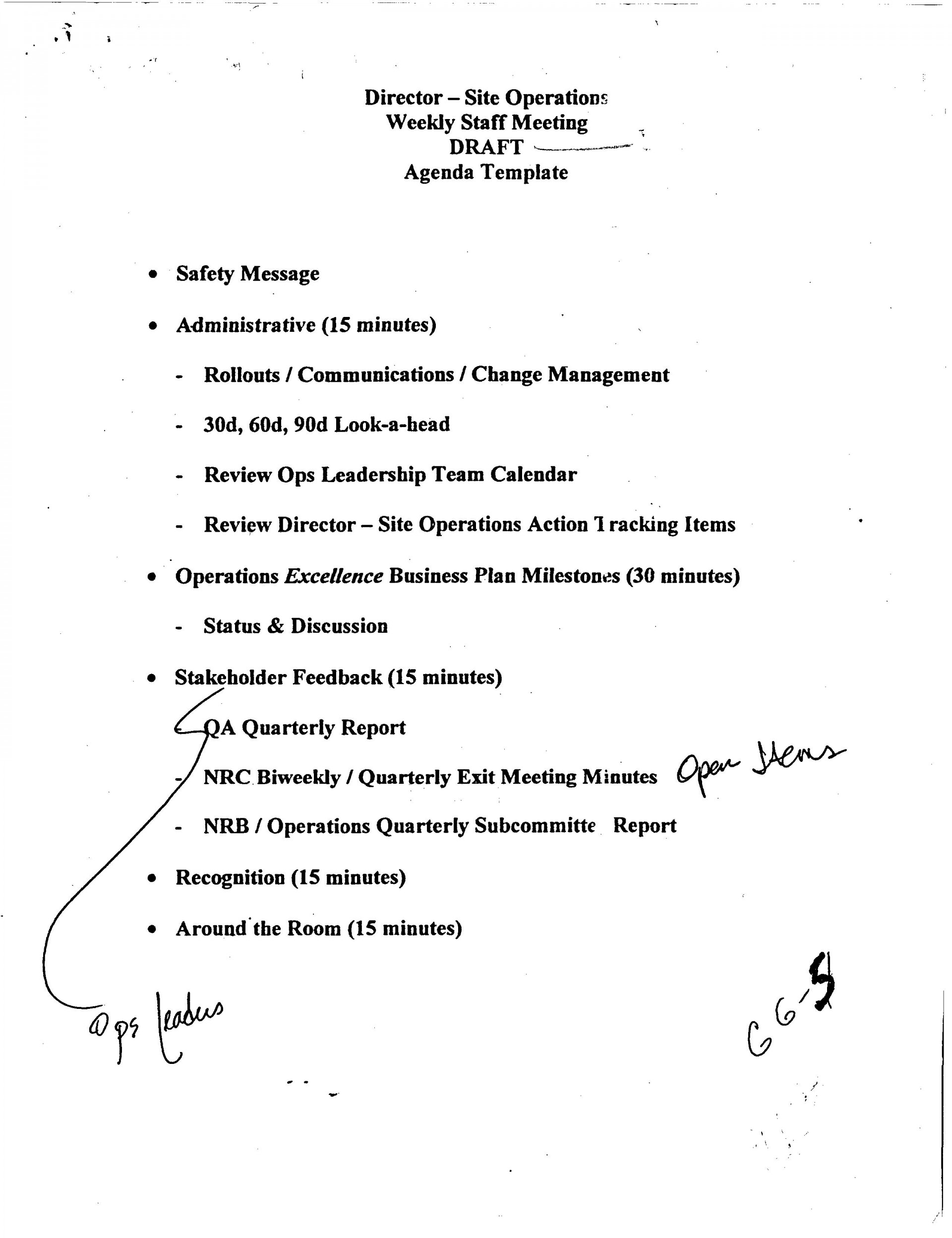 007 Outstanding Staff Meeting Agenda Template Example  Format1920