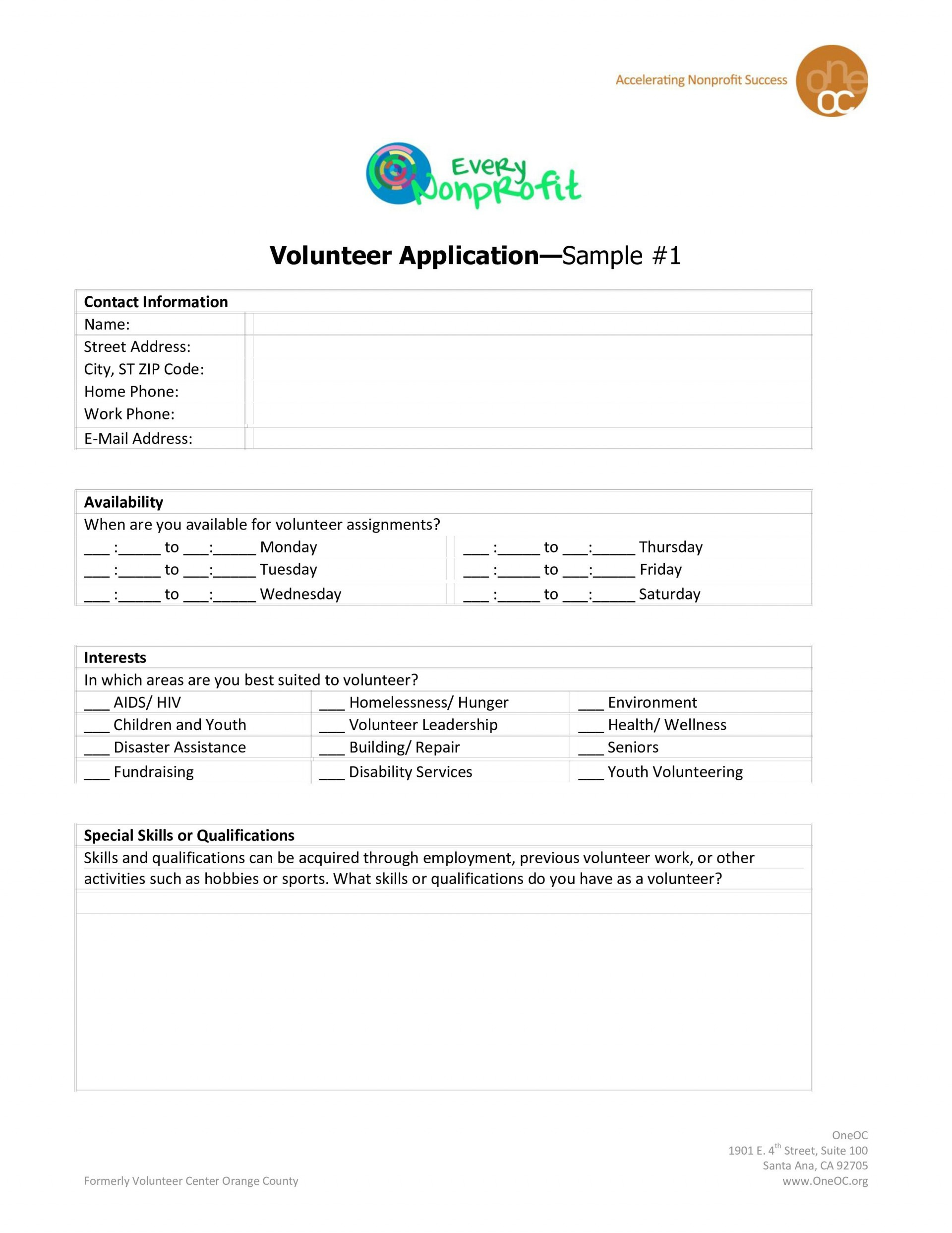 007 Outstanding Volunteer Application Template For Nonprofit Highest Clarity  Sample Form1920
