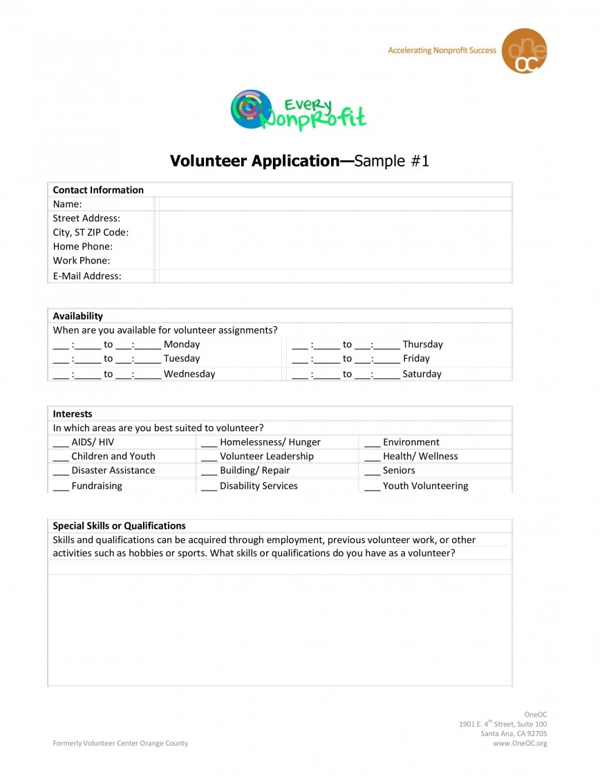 007 Outstanding Volunteer Application Template For Nonprofit Highest Clarity  Sample Form