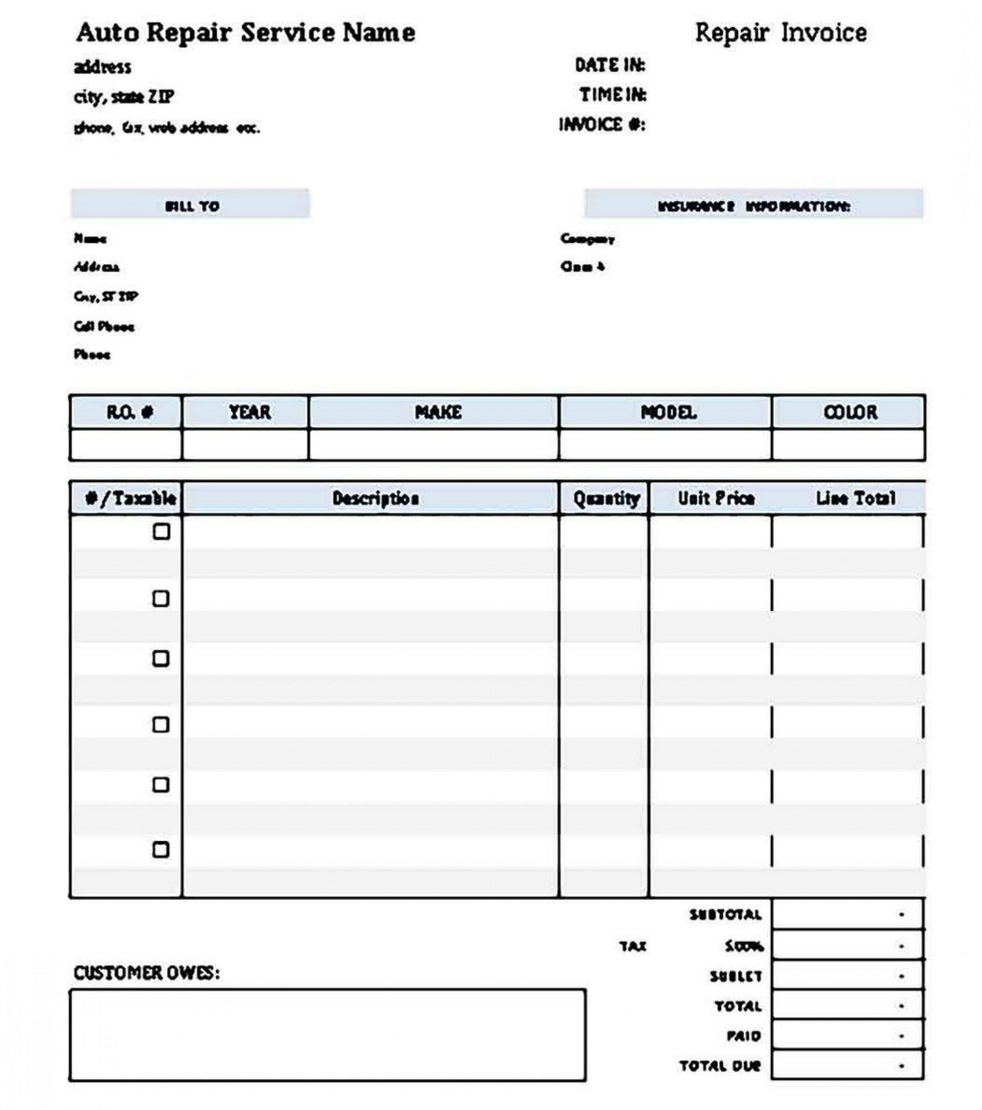 007 Phenomenal Auto Repair Order Template High Resolution  Work Free Automotive Car1920