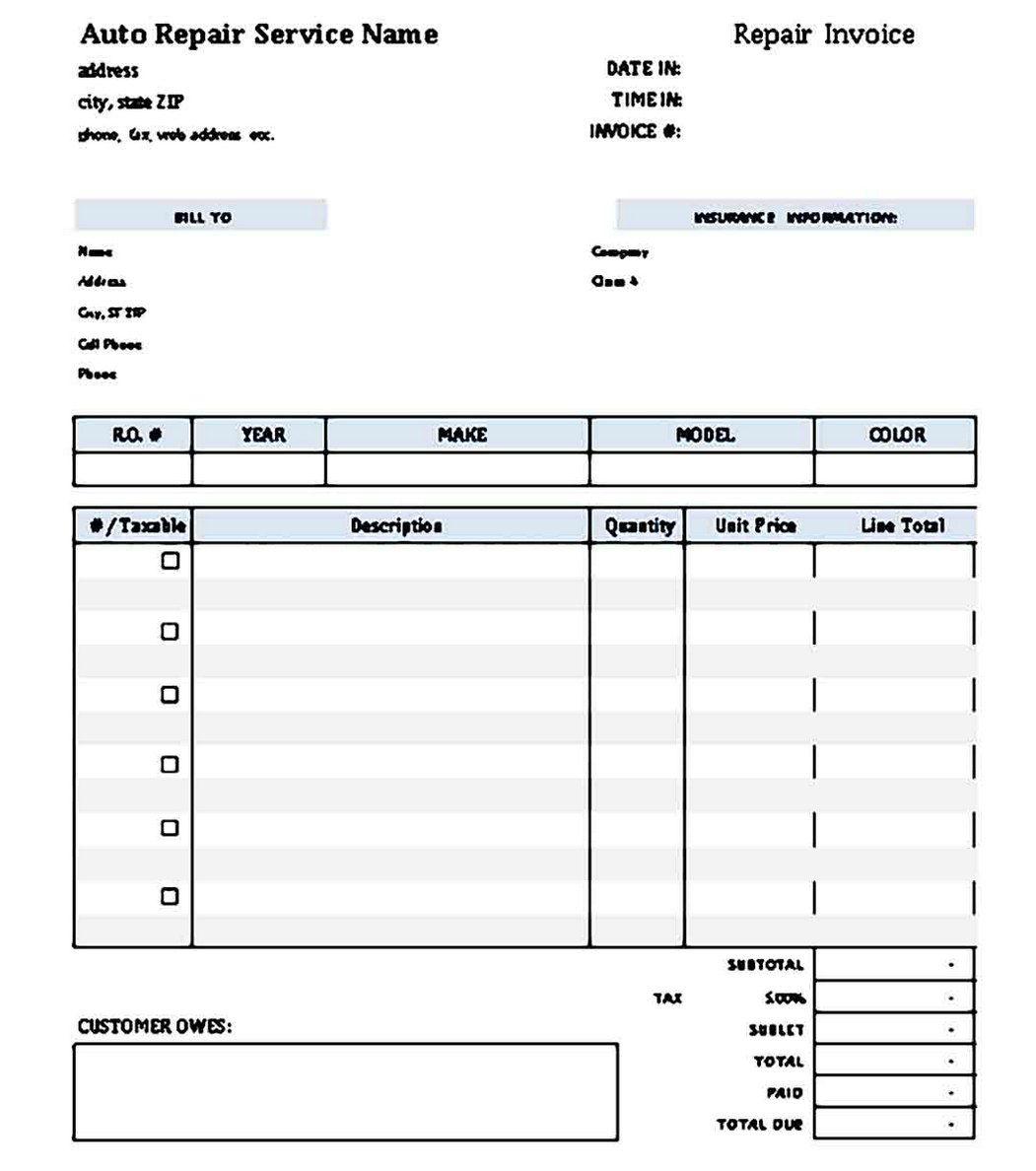 007 Phenomenal Auto Repair Order Template High Resolution  Work Free Automotive CarFull