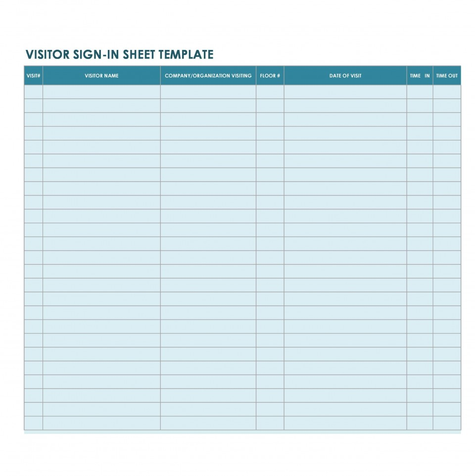 007 Phenomenal Busines Visitor Sign In Sheet Template High Definition 960