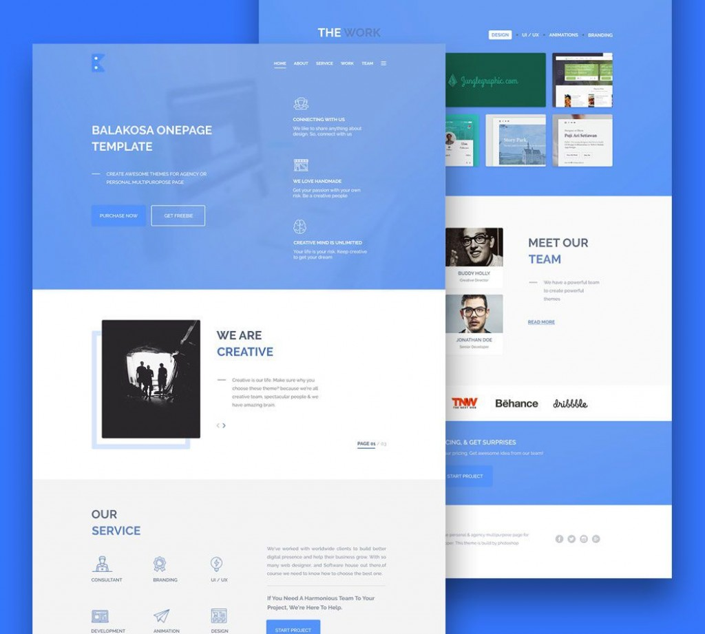 007 Phenomenal Creative One Page Website Template Free Download High Def Large
