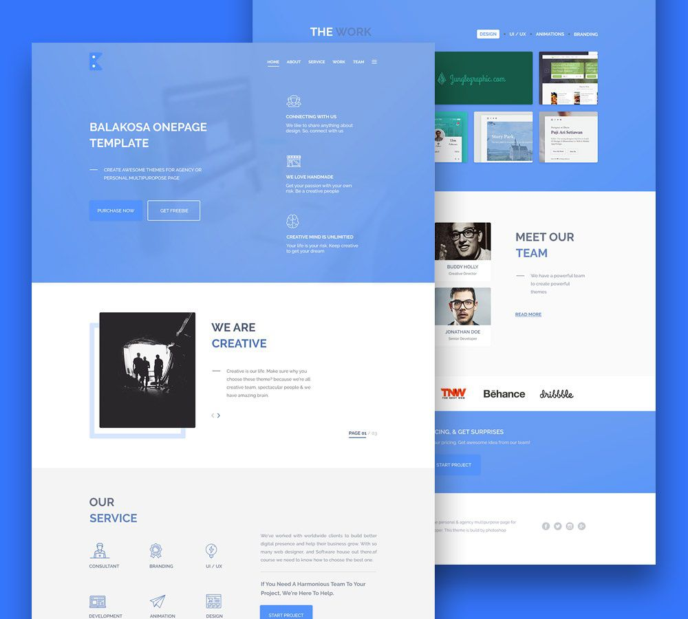 007 Phenomenal Creative One Page Website Template Free Download High Def Full