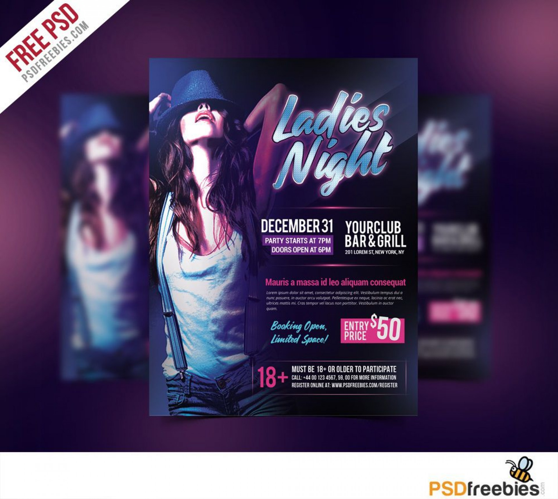 007 Phenomenal Free Psd Party Flyer Template Download Concept  - Neon Glow Rave1920